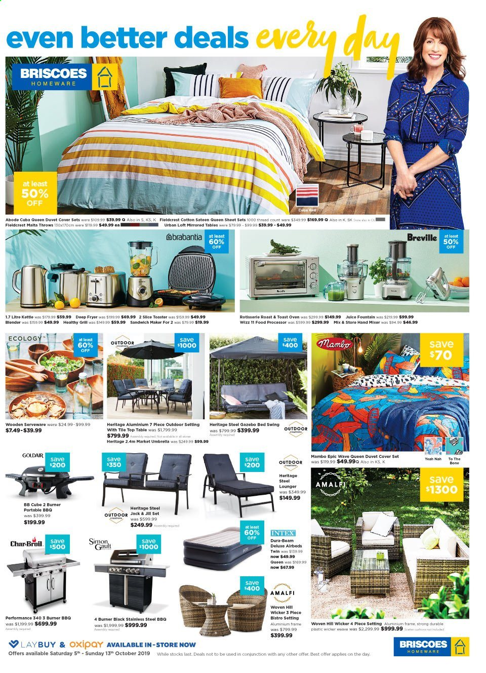 Briscoes mailer - 05.10.2019 - 13.10.2019 - Sales products - table, bed, serveware, duvet, sheet, queen sheet, satin, quilt cover set, oven, deep fryer, toaster, grill, juice, aluminium frame, Intex. Page 1.