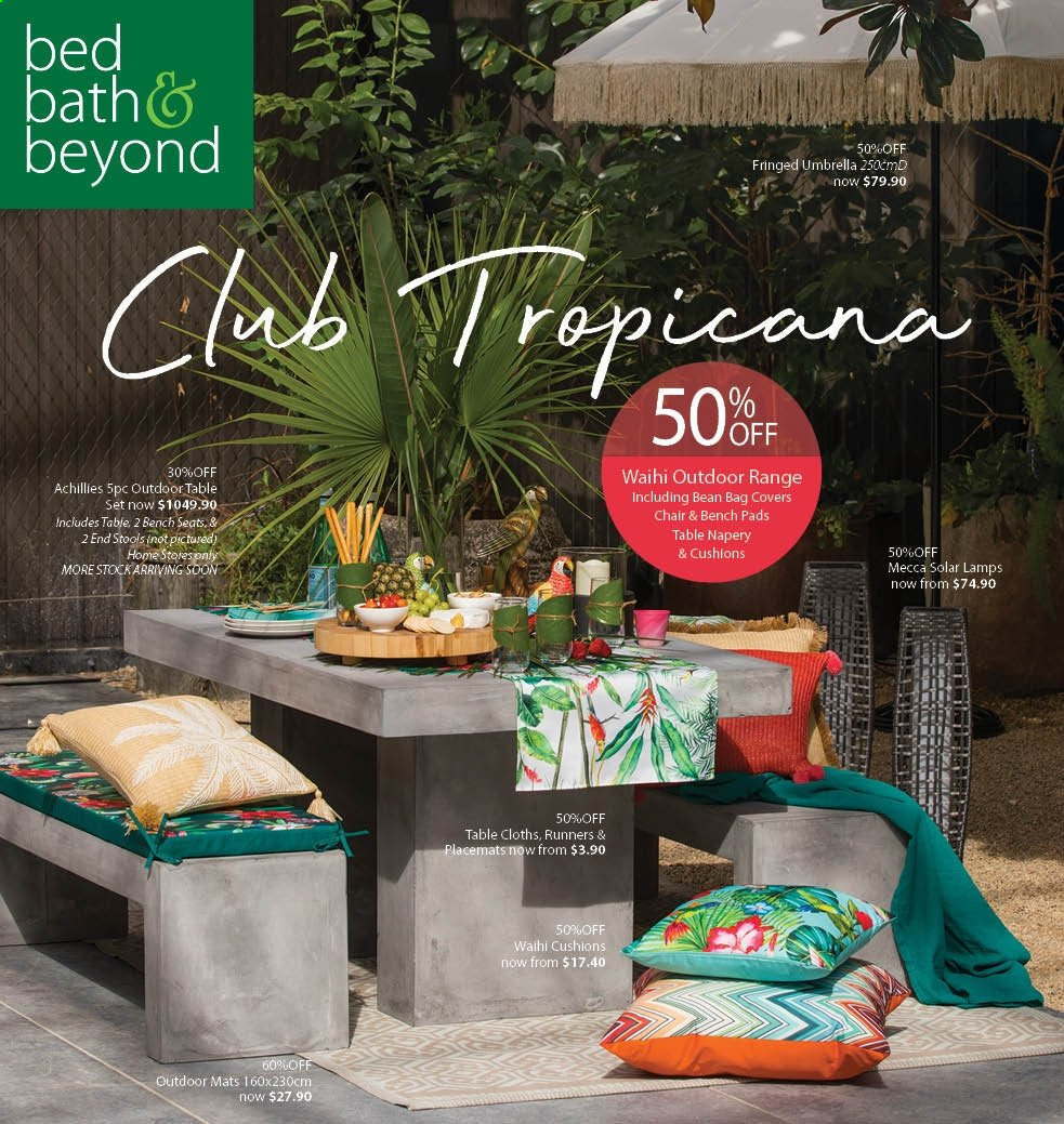 Bed Bath & Beyond mailer - 07.10.2019 - 20.10.2019 - Sales products - chair, bean bag, bed, cushion, table cloths. Page 1.