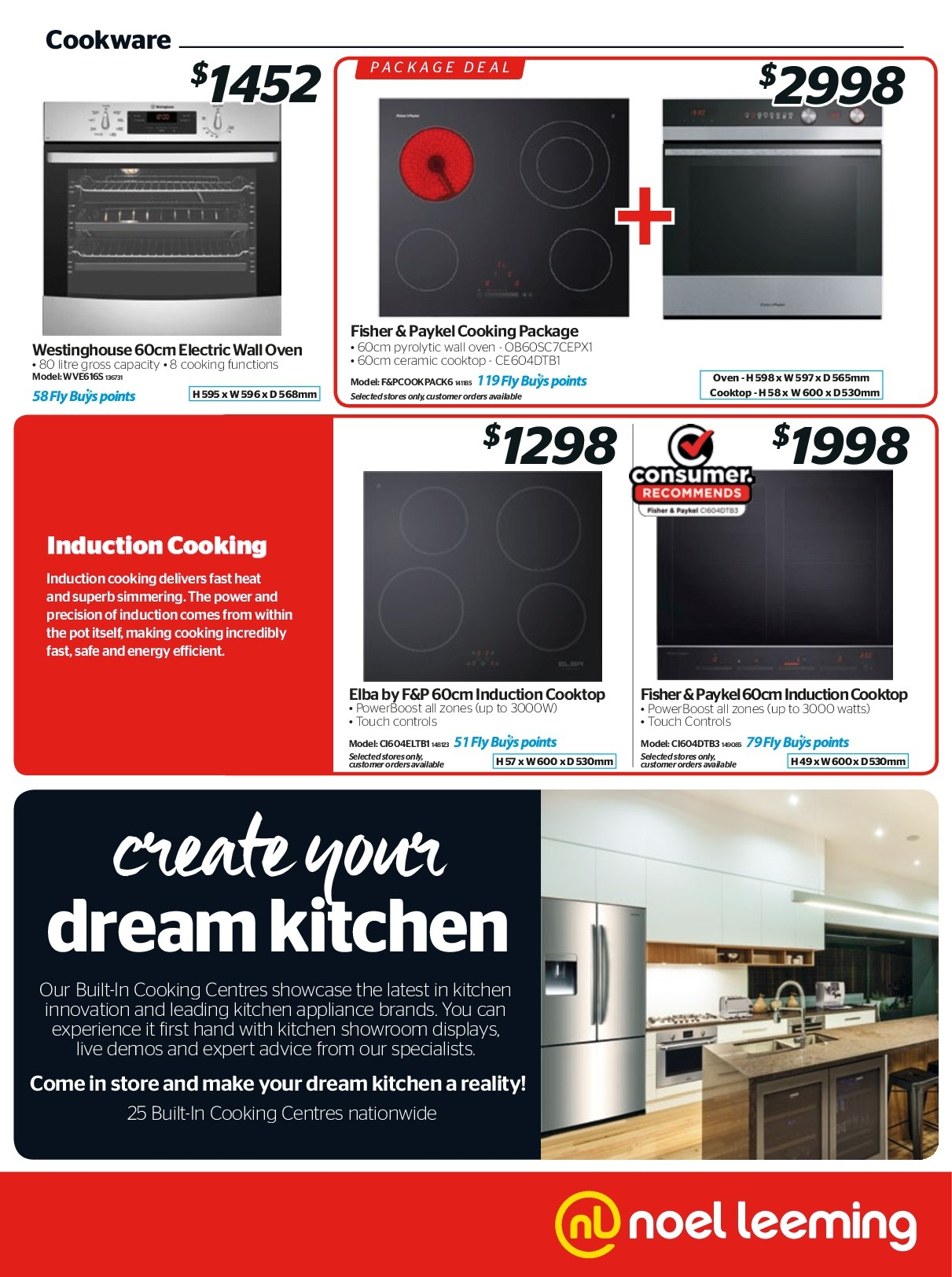 Noel Leeming mailer - 18.04.2018 - 24.04.2018 - Sales products - cooktop, induction cooktop, kitchen, pot, oven. Page 19.