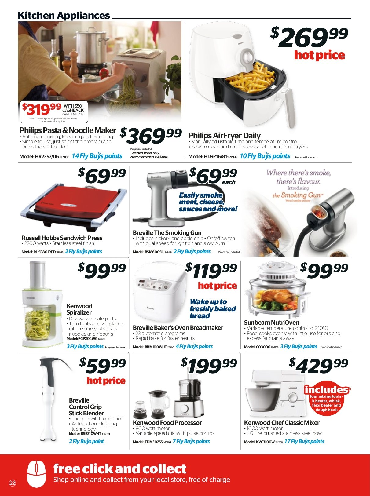 Noel Leeming mailer - 18.04.2018 - 24.04.2018 - Sales products - apple, blender, bread, dishwasher, mixer, stick, switch, gun, hook, kitchen, philips, noodle, oven, cheese, noodles, sandwich, vegetables, processor, bow, pasta, kenwood, russell hobbs, food processor. Page 22.