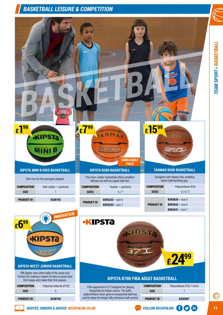 Decathlon offer  - 1.9.2017 - 30.6.2018 - Sales products - cover, foam, leisure, basketball, ribs. Page 11.
