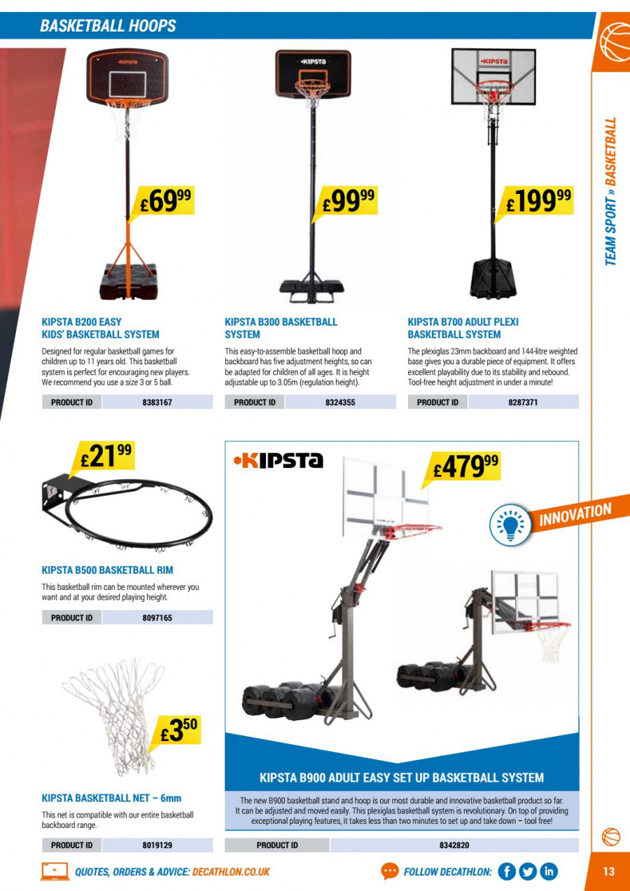 Decathlon offer  - 1.9.2017 - 30.6.2018 - Sales products - stand, game, basketball. Page 13.