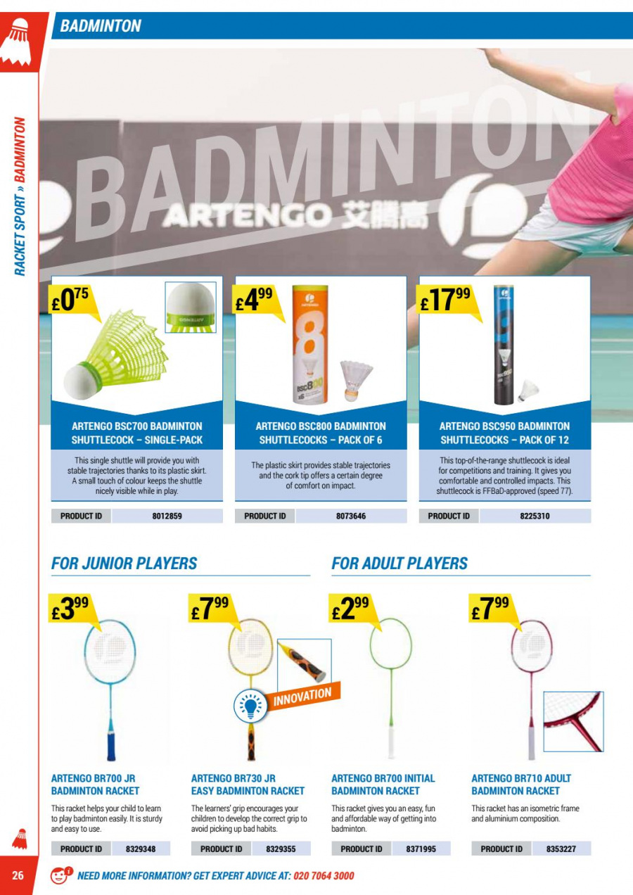 Decathlon offer  - 1.9.2017 - 30.6.2018 - Sales products - degree, frame, skirt. Page 26.