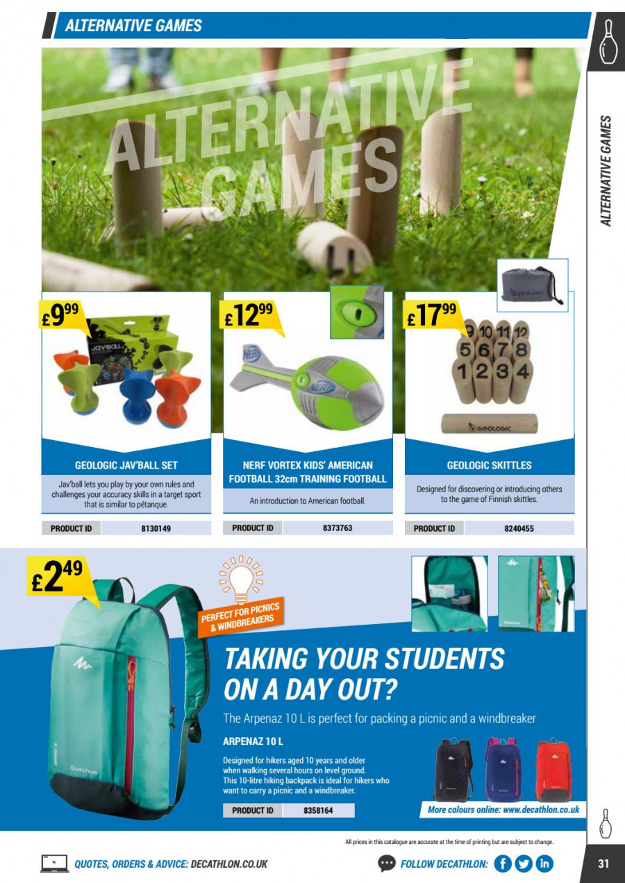 Decathlon offer  - 1.9.2017 - 30.6.2018 - Sales products - backpack, nerf, vortex, hikers, game. Page 31.