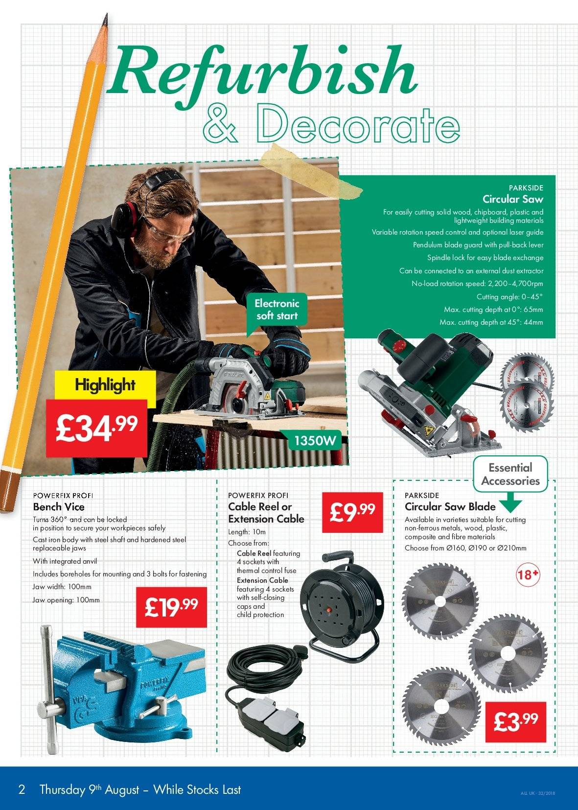 Lidl offer  - 9.8.2018 - 15.8.2018 - Sales products - accessories, bench, circular saw blade, solid, iron, reel. Page 2.