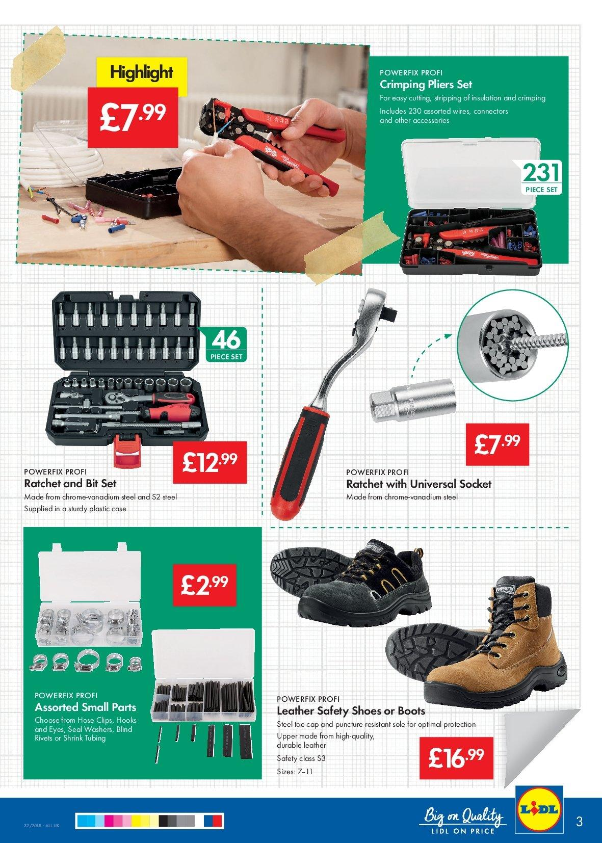 Lidl offer  - 9.8.2018 - 15.8.2018 - Sales products - accessories, boots, cap, case, shoes, sole, hook, pliers. Page 3.