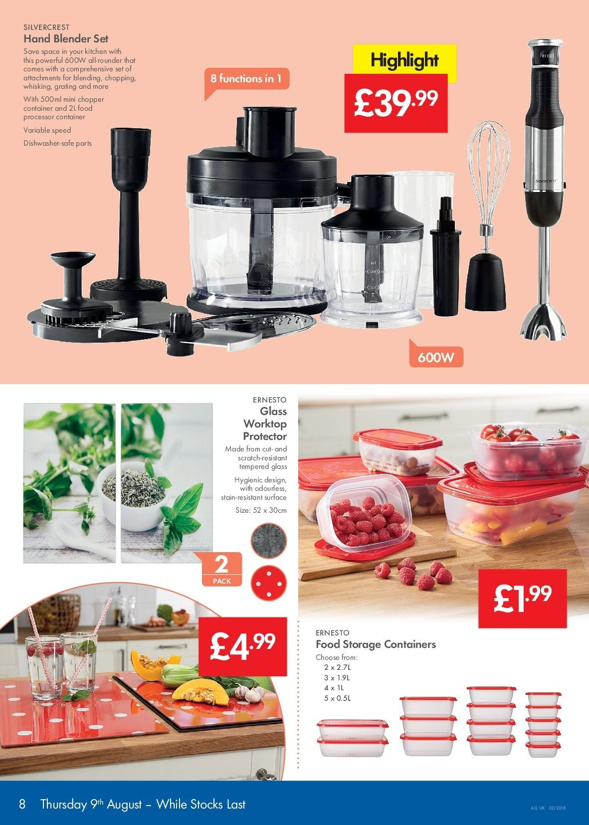 Lidl offer  - 9.8.2018 - 15.8.2018 - Sales products - blender, container, dishwasher, glass, safe, storage, surface, kitchen, processor, food processor. Page 8.
