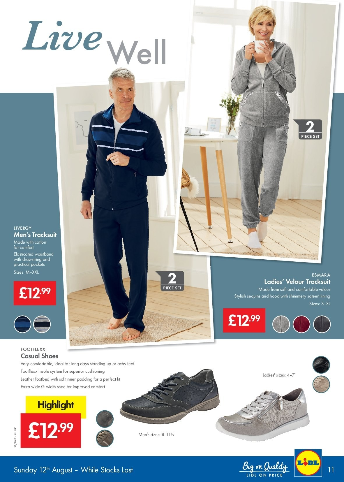Lidl offer  - 9.8.2018 - 15.8.2018 - Sales products - cotton, sateen, shoes, hoodie. Page 11.