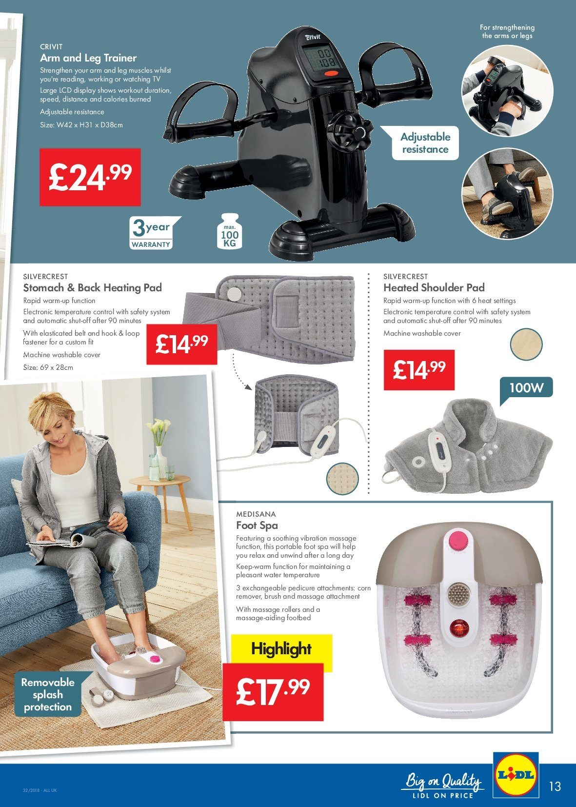 Lidl offer  - 9.8.2018 - 15.8.2018 - Sales products - belt, brush, corn, cover, d3, hook, pedicure, pad. Page 13.