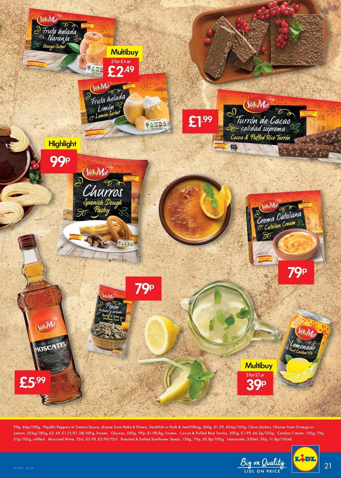 Lidl offer  - 9.8.2018 - 15.8.2018 - Sales products - cocoa, cream, frozen, lemonade, rice, tomato sauce, veal meat, pork meat, wine, sauce, hake, prawn. Page 21.