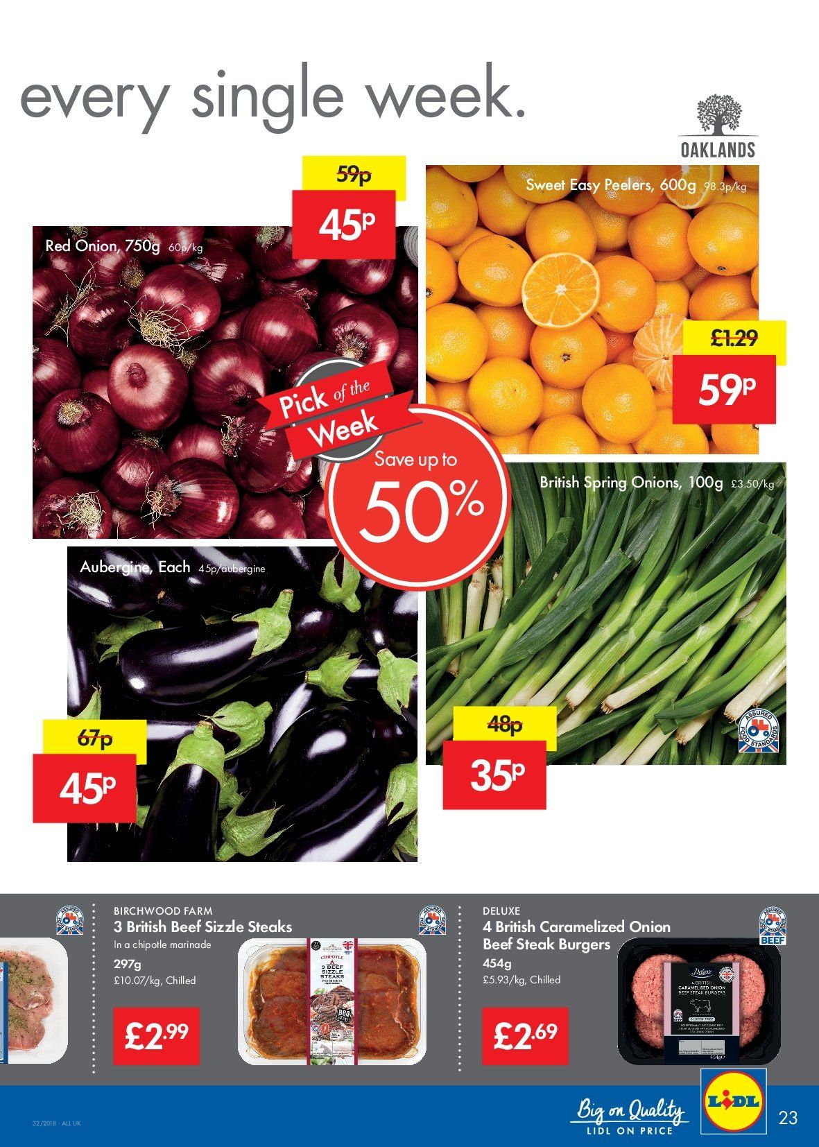 Lidl offer  - 9.8.2018 - 15.8.2018 - Sales products - beef meat, beef steak, onion, steak, marinade, sweet. Page 23.