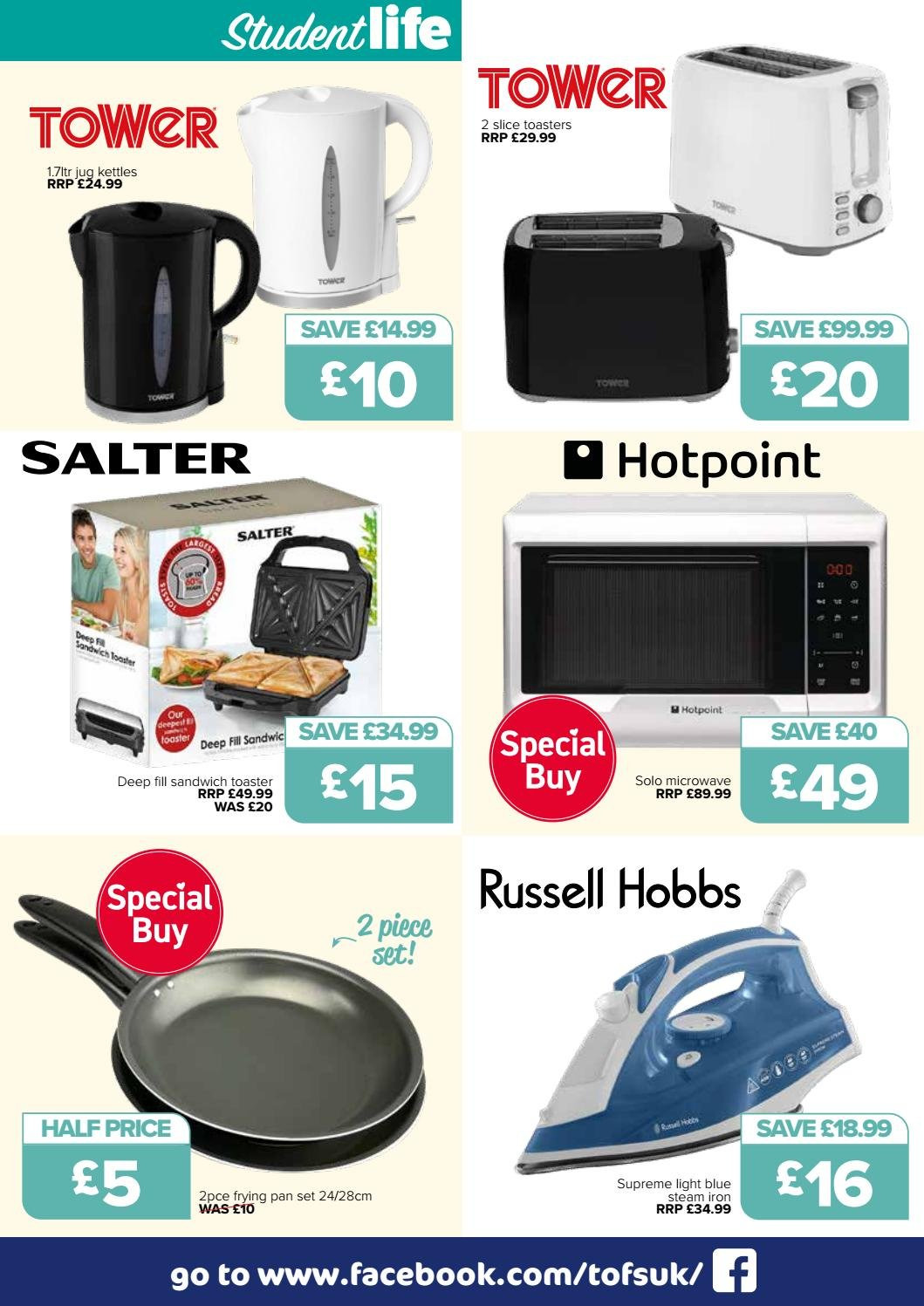 The Original Factory Shop offer  - 30.8.2018 - 12.9.2018 - Sales products - microwave, hotpoint, iron, pan, sandwich, toaster, russell hobbs. Page 7.