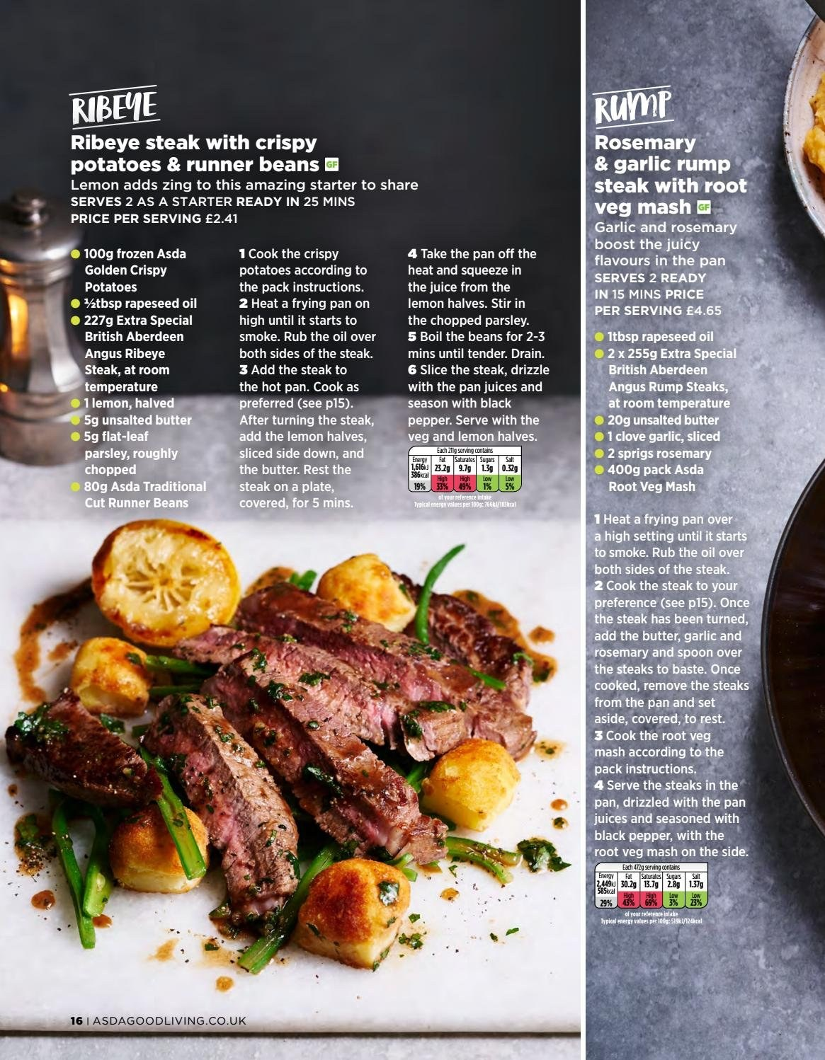 ASDA offer  - 1.2.2019 - 28.2.2019 - Sales products - beans, butter, fa, frozen, garlic, rosemary, spoon, potatoes, pan, parsley, steak, juice, black pepper, pepper. Page 16.