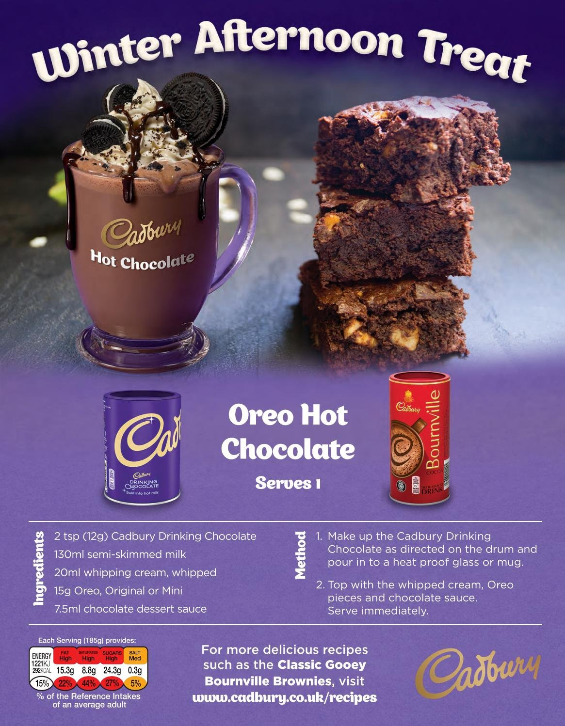 ASDA offer  - 1.2.2019 - 28.2.2019 - Sales products - brownies, Oreo, milk, whipped cream, whipping cream, Cadbury, salt, chocolate drink, Rin, mug. Page 23.