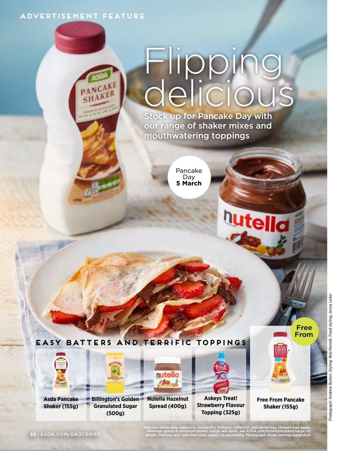 ASDA offer  - 1.2.2019 - 28.2.2019 - Sales products - Nutella, granulated sugar, sugar, topping, basket, shaker. Page 32.
