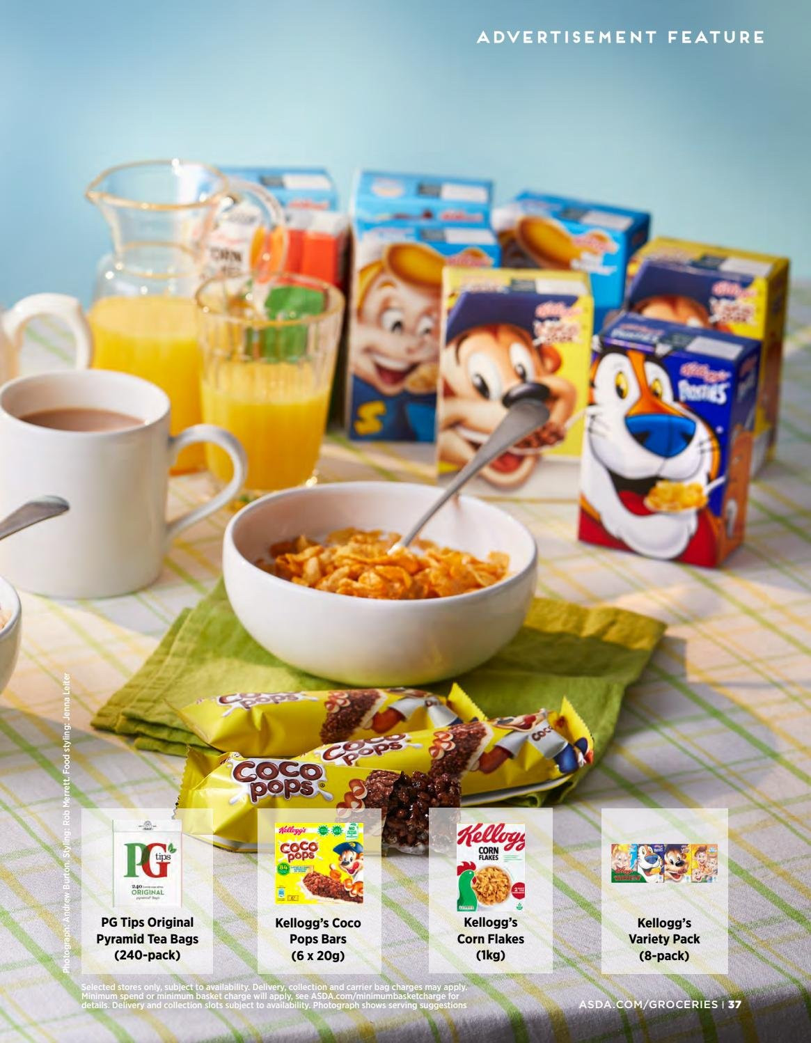 ASDA offer  - 1.2.2019 - 28.2.2019 - Sales products - bag, basket, corn, tea, corn flakes, coco pops, flakes. Page 37.