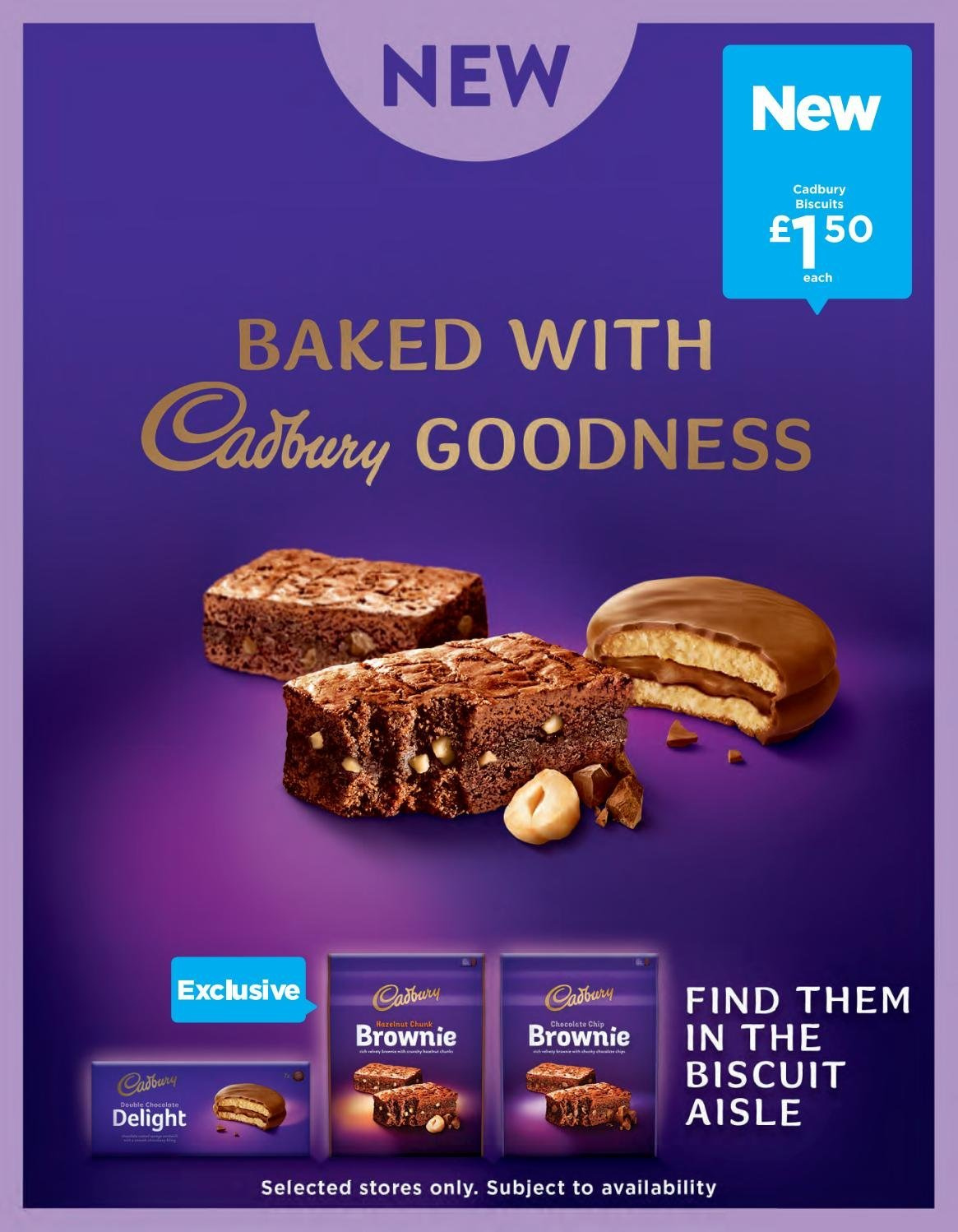 ASDA offer  - 1.3.2019 - 31.3.2019 - Sales products - brownies, biscuit, Cadbury. Page 20.