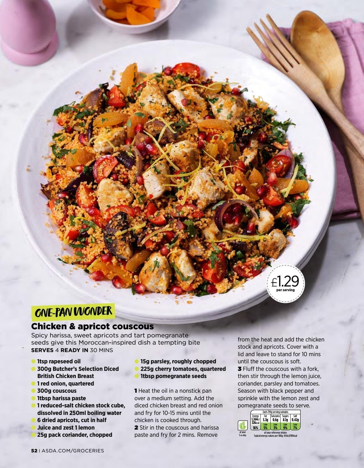 ASDA offer  - 1.3.2019 - 31.3.2019 - Sales products - tomatoes, onion, pomegranate, apricots, chicken breasts, chicken meat, tart, salt, couscous, parsley, black pepper, coriander, oil, lemon juice, fork, lid, pan. Page 52.