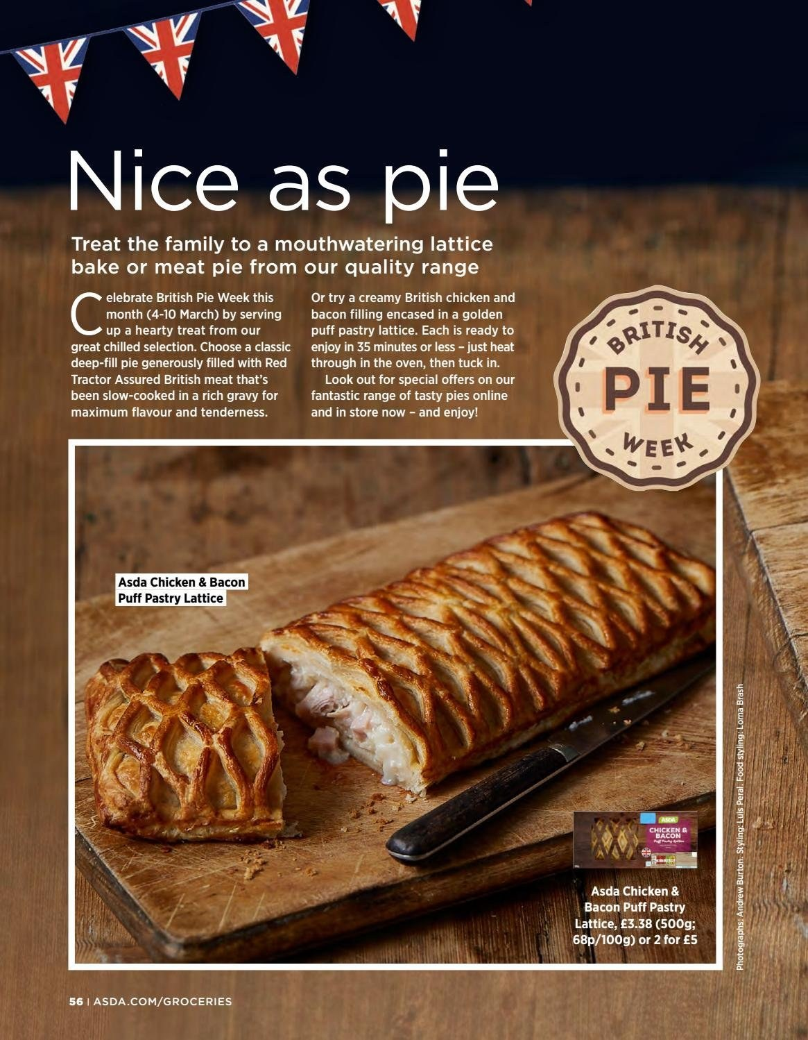 ASDA offer  - 1.3.2019 - 31.3.2019 - Sales products - bacon, puff pastry, chicken, oven, pie. Page 56.
