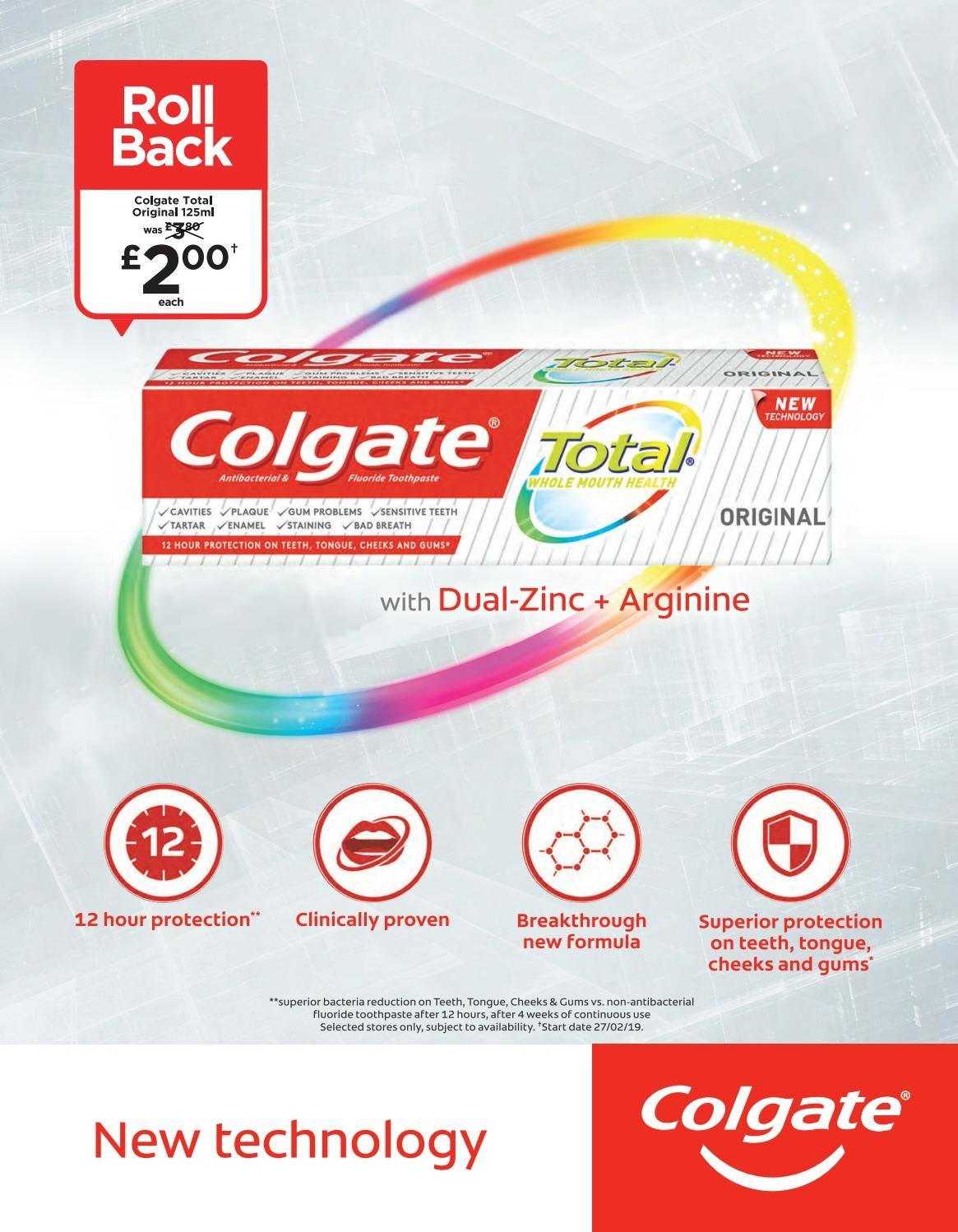 ASDA offer  - 1.3.2019 - 31.3.2019 - Sales products - Colgate, toothpaste, zinc. Page 75.