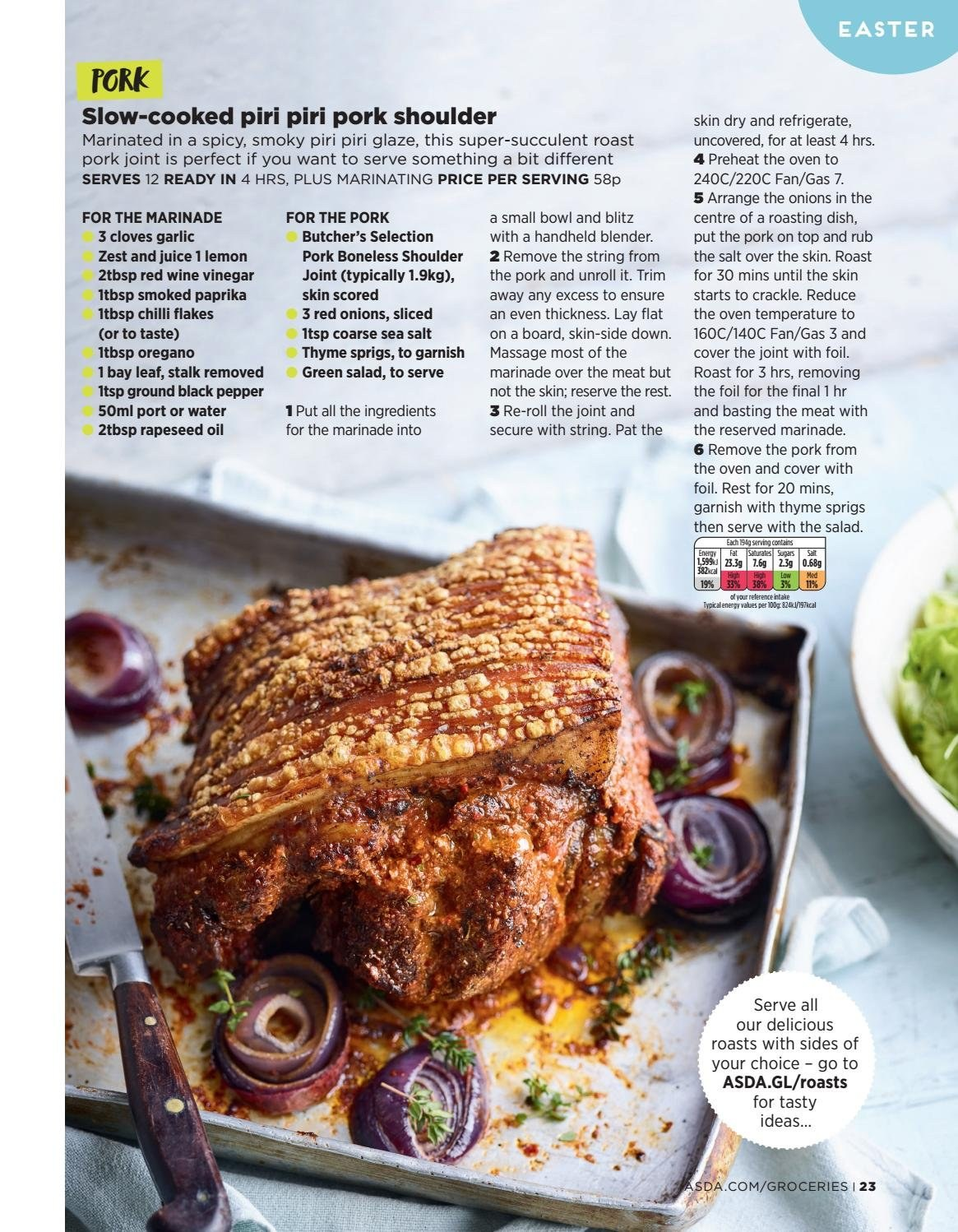 ASDA offer  - 1.4.2019 - 21.4.2019 - Sales products - garlic, red onions, onion, pork meat, pork shoulder, sea salt, cloves, marinade, vinegar, wine vinegar, oil, juice, red wine, wine, bowl, blender. Page 23.