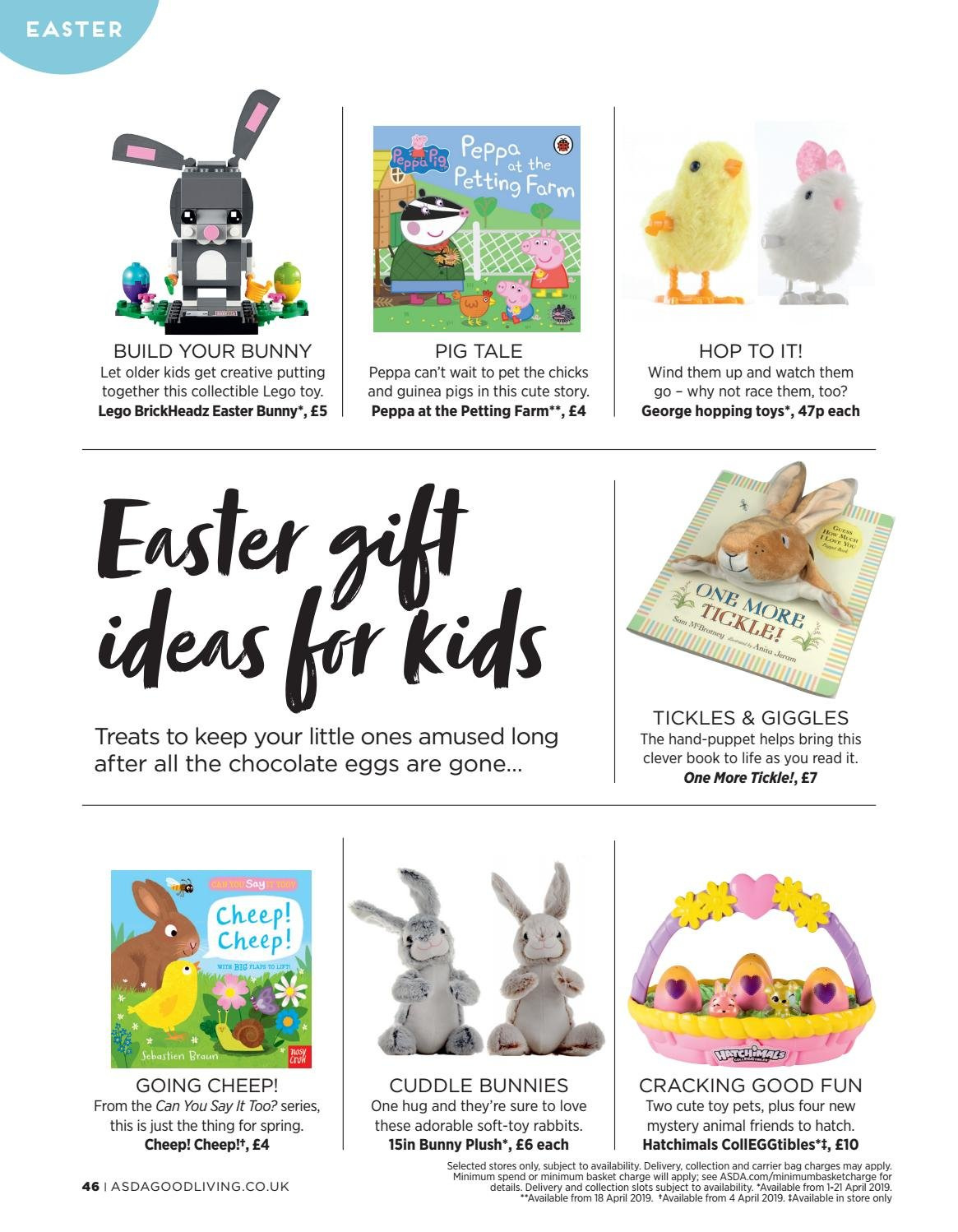 ASDA offer  - 1.4.2019 - 21.4.2019 - Sales products - chocolate eggs, basket, Peppa Gris, book, Braun. Page 46.