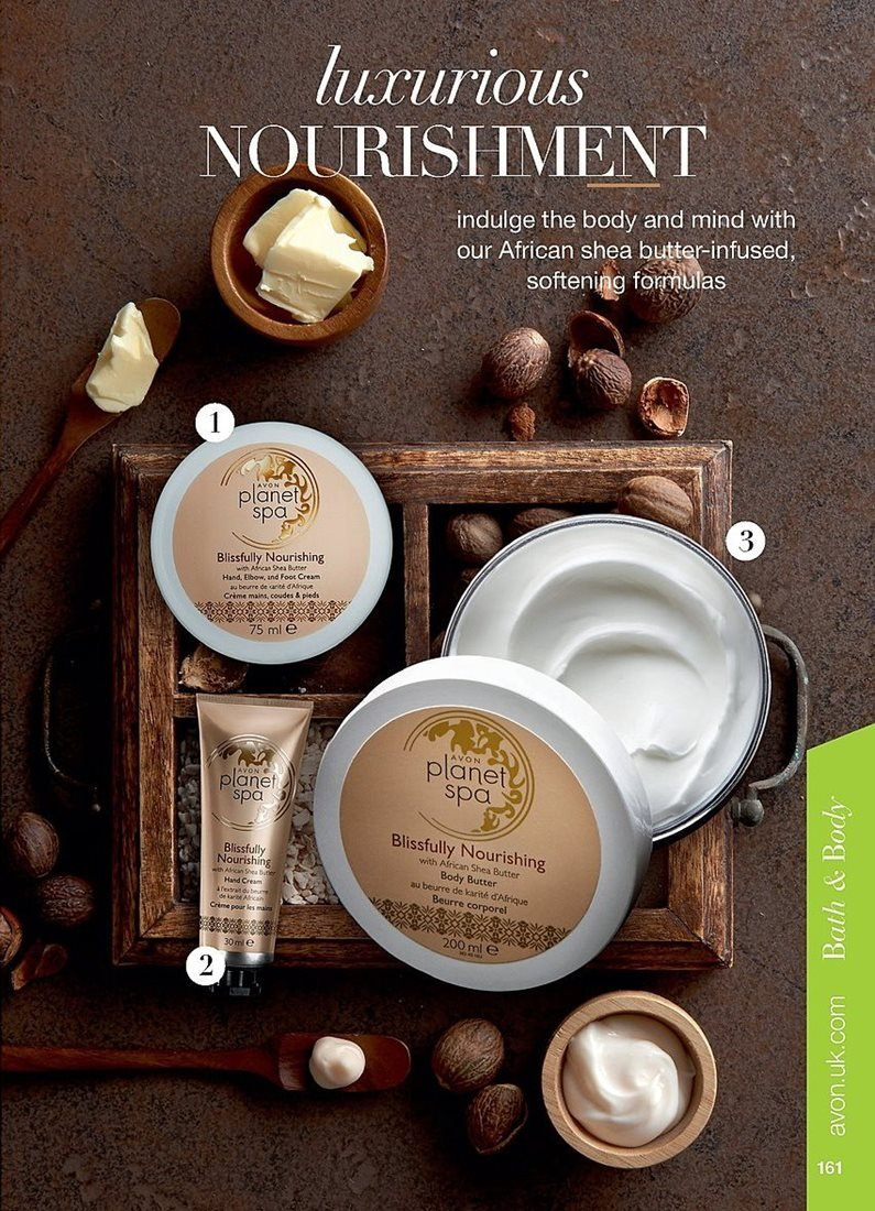 Avon offer  - 4.4.2019 - 24.4.2019 - Sales products - body butter, butter, cream, shea butter, hand cream, nourishing, planet spa. Page 161.