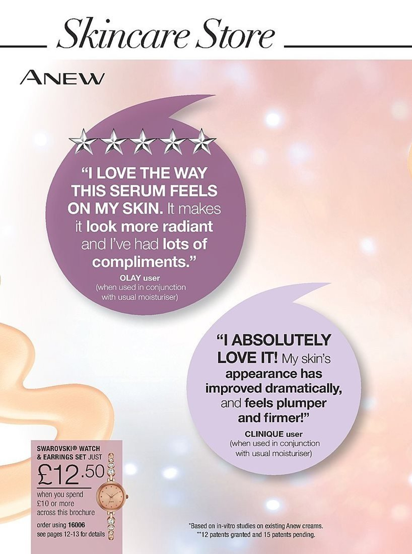 Avon offer  - 4.4.2019 - 24.4.2019 - Sales products - anew, clinique, earring, earrings, serum, watch, olay. Page 164.