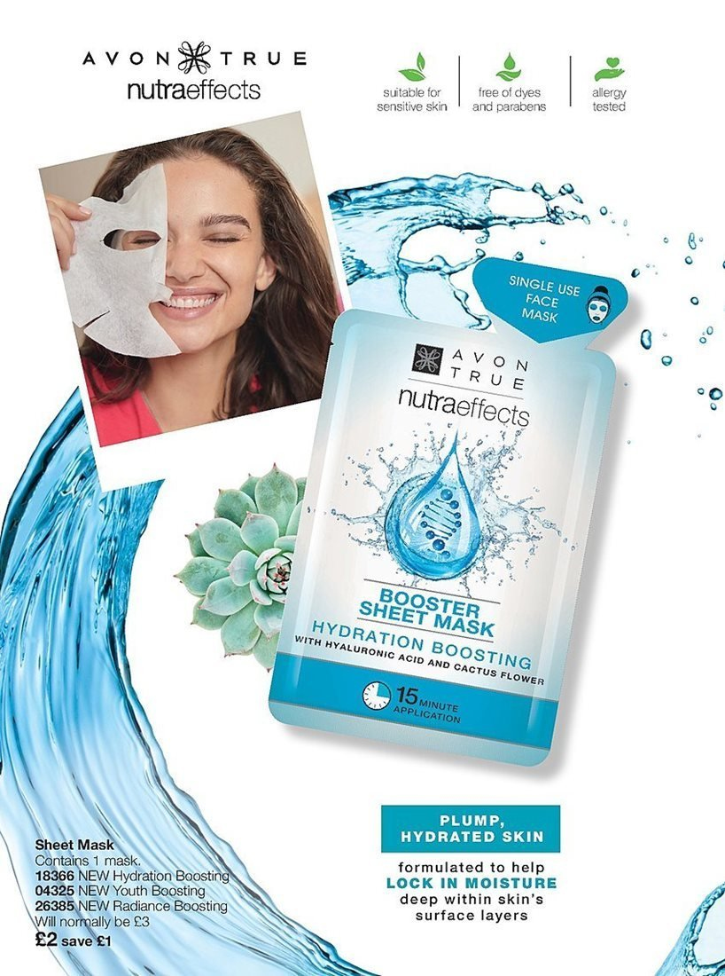 Avon offer  - 4.4.2019 - 24.4.2019 - Sales products - mask, moisture, sheet, surface, nutraeffects, cactus, acid. Page 170.