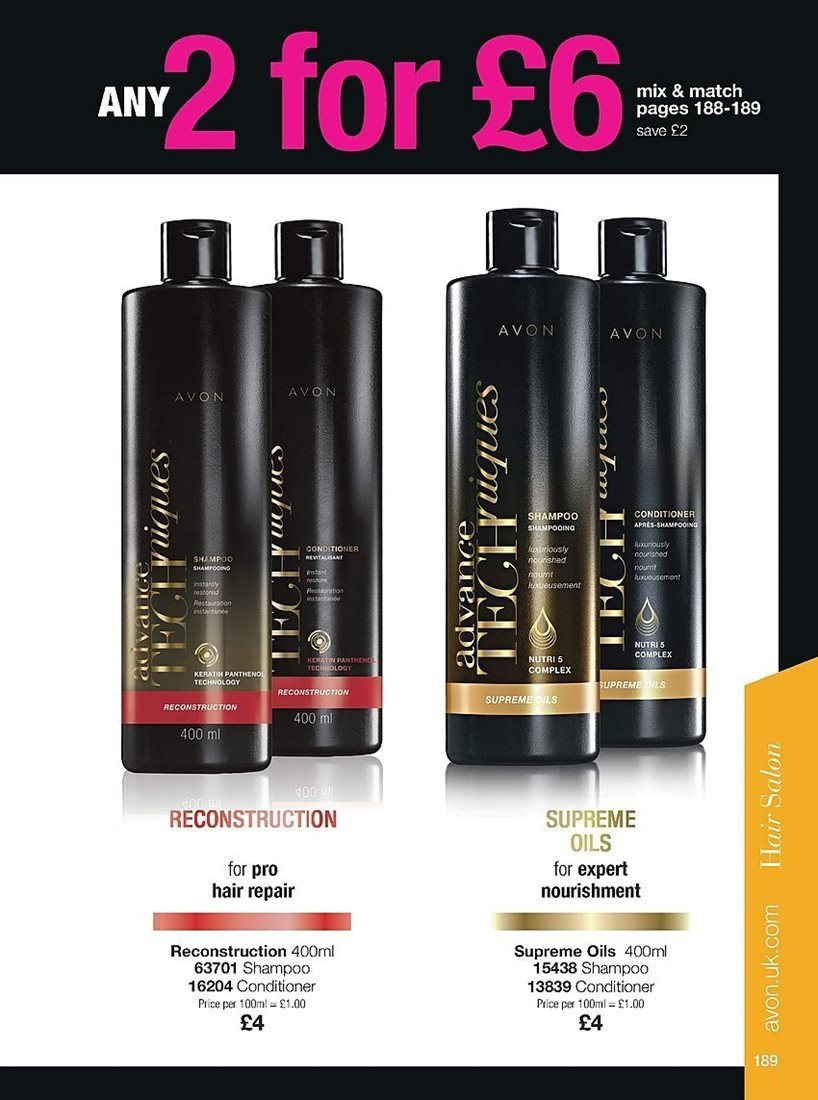Avon offer  - 4.4.2019 - 24.4.2019 - Sales products - conditioner, repair, shampoo. Page 189.