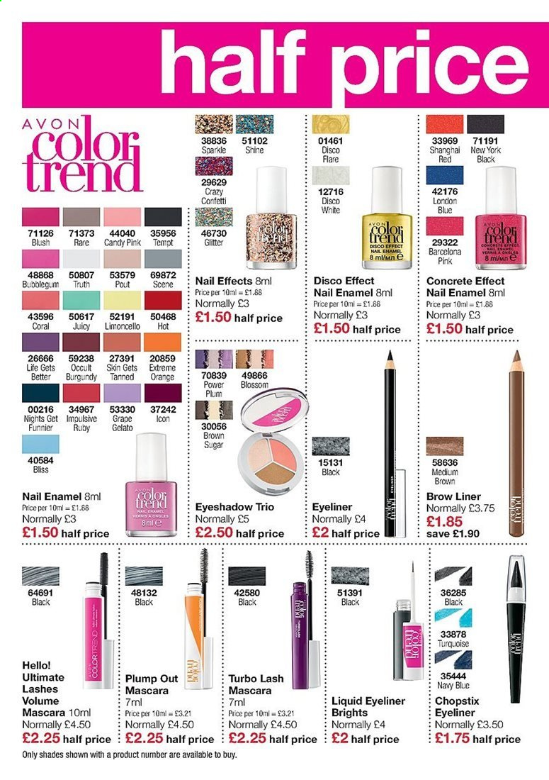 Avon offer  - Sales products - eyeshadow, gelato, grapes, limoncello, mascara, nail enamel, rare, shades, candy. Page 4.