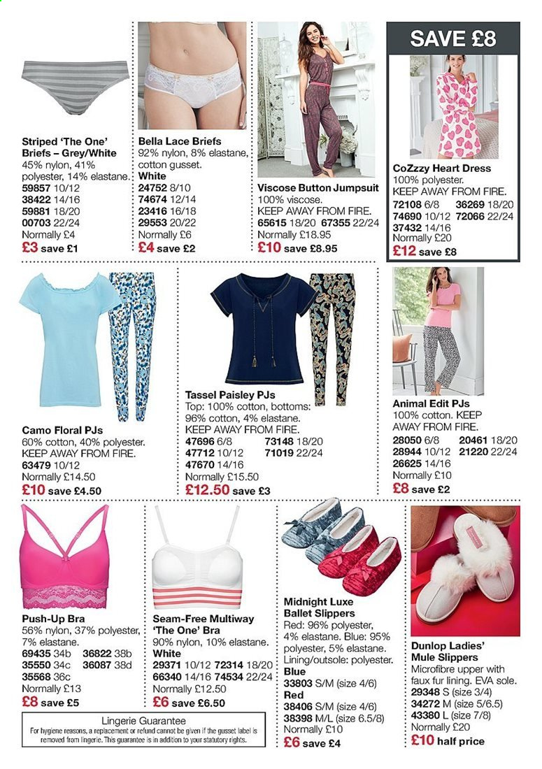 Avon offer  - Sales products - bottom, bra, cotton, dress, dunlop, slippers, sole, push-up bra. Page 14.