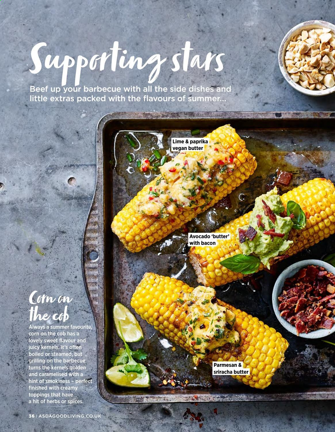 ASDA offer  - 1.5.2019 - 31.5.2019 - Sales products - corn, avocado, parmesan, butter, herbs, sriracha. Page 36.