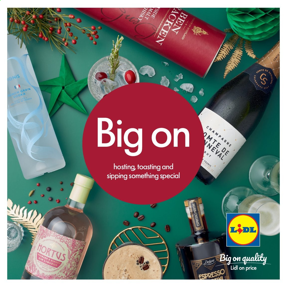Lidl offer  - Sales products - liqueur, rhubarb, vodka, champagne. Page 1.