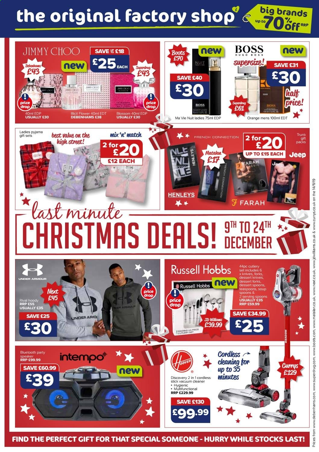 The Original Factory Shop offer  - 9.12.2019 - 24.12.2019 - Sales products - bluetooth, boots, eau de parfum, eau de toilette, knife, speaker, spoon, stick, under armour, vacuum, vacuum cleaner, henley, hugo boss, jimmy choo, dessert, soup, cutlery set, russell hobbs. Page 1.