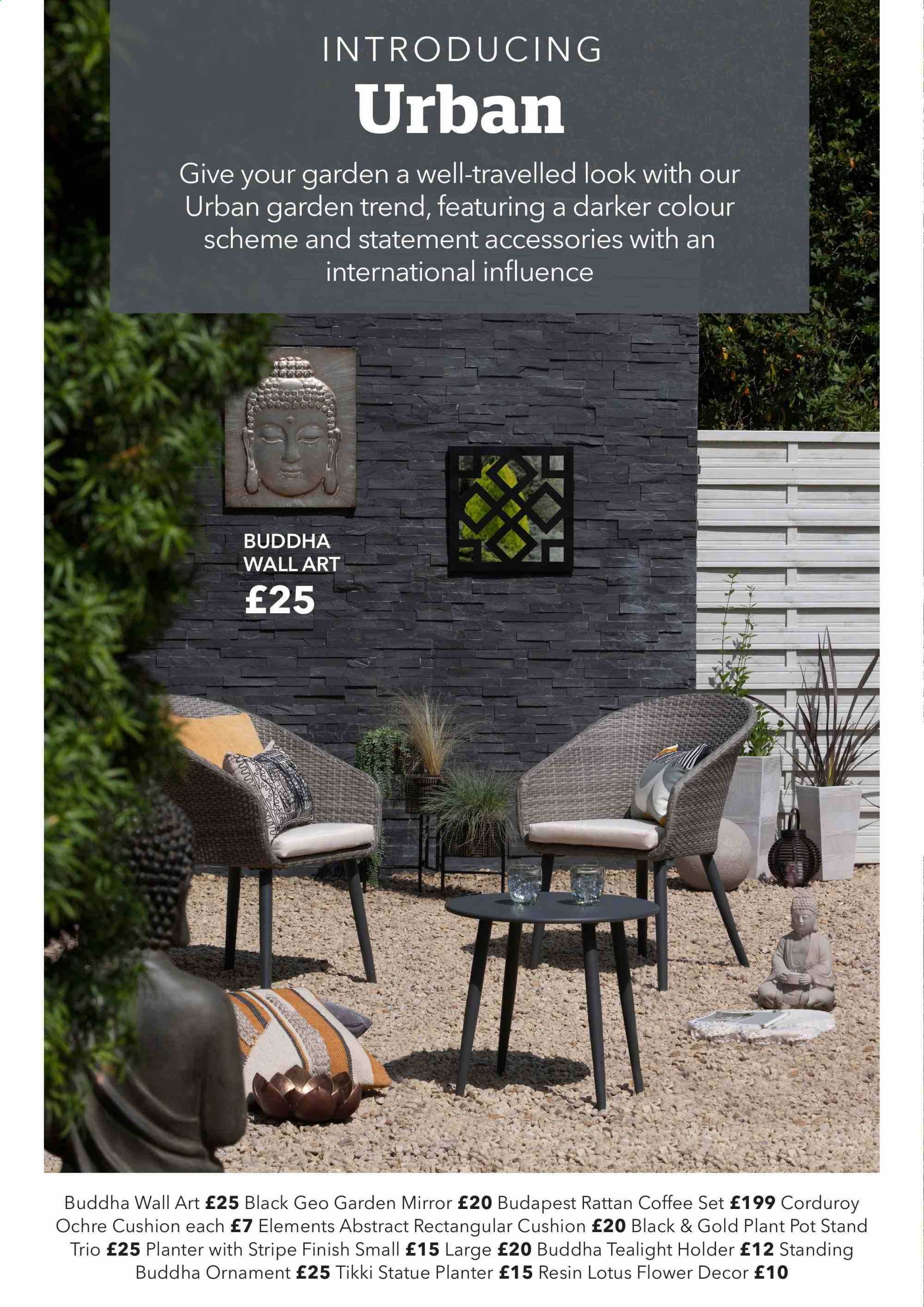 Dunelm offer  - Sales products - accessories, coffee, cushion, mirror, stand, holder, plant pot, pot, ornament. Page 12.