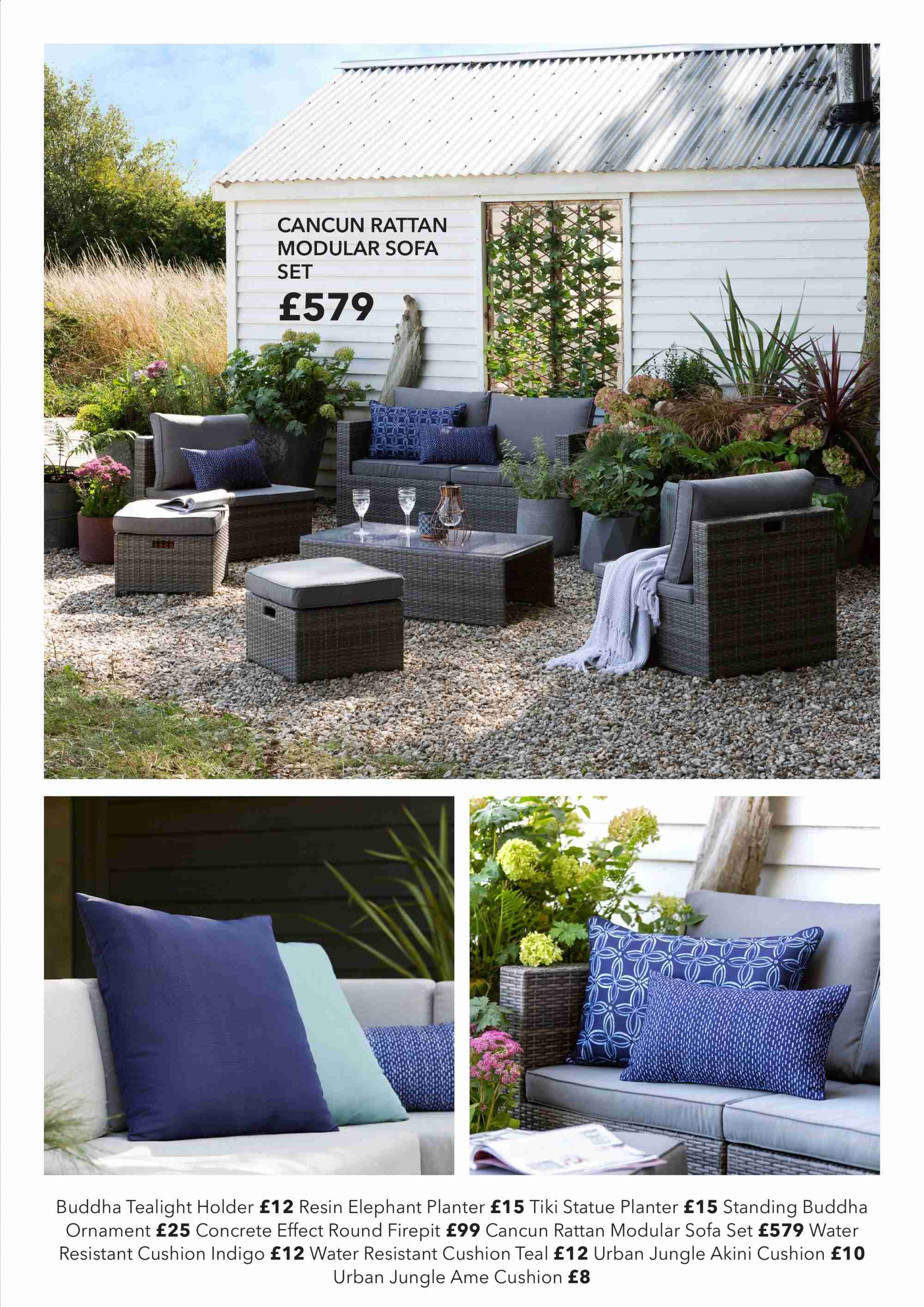 Dunelm offer  - Sales products - cushion, elephant, sofa, holder, ornament, water resistant. Page 17.
