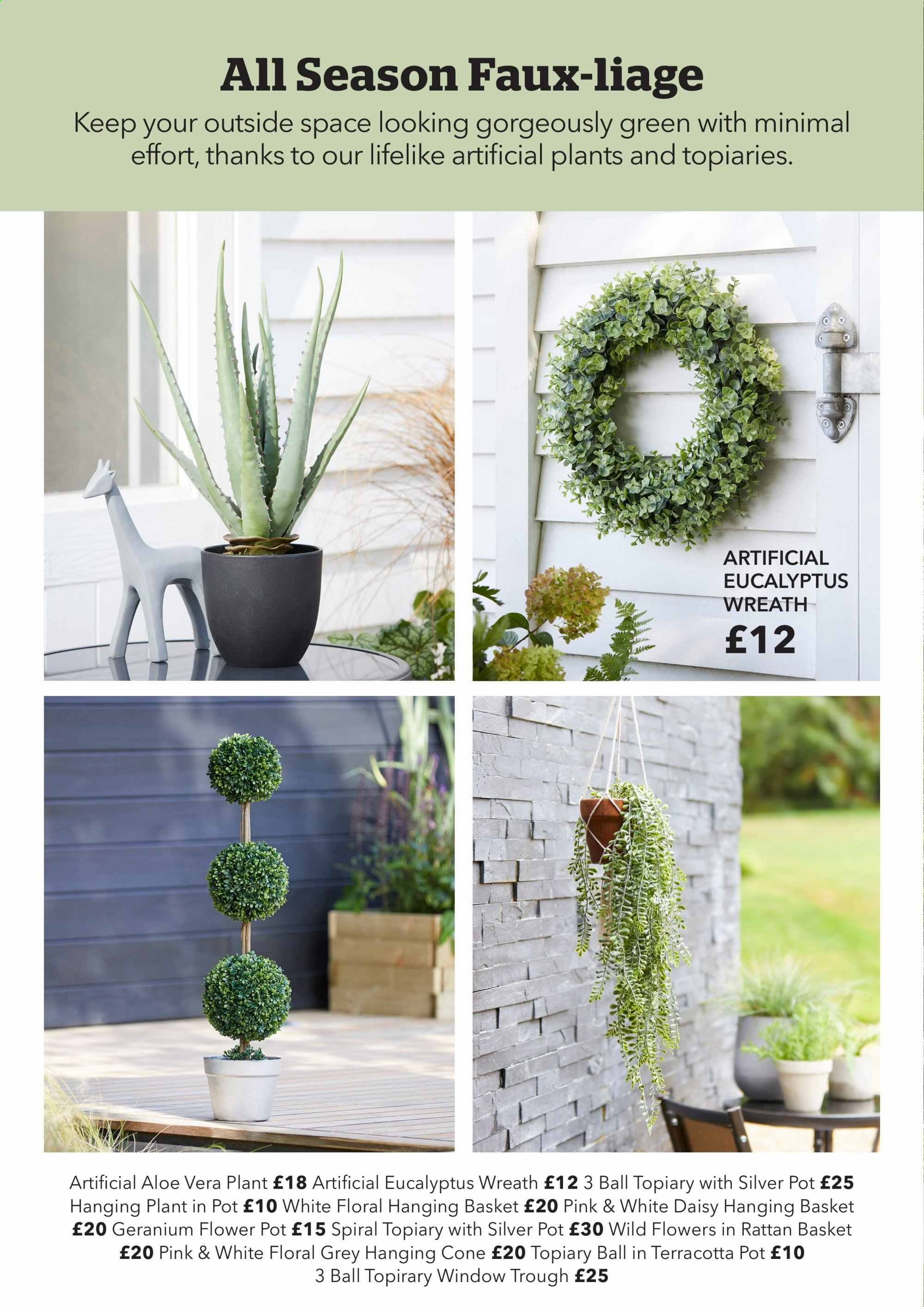 Dunelm offer  - Sales products - aloe, basket, wreath, pot, ball. Page 24.