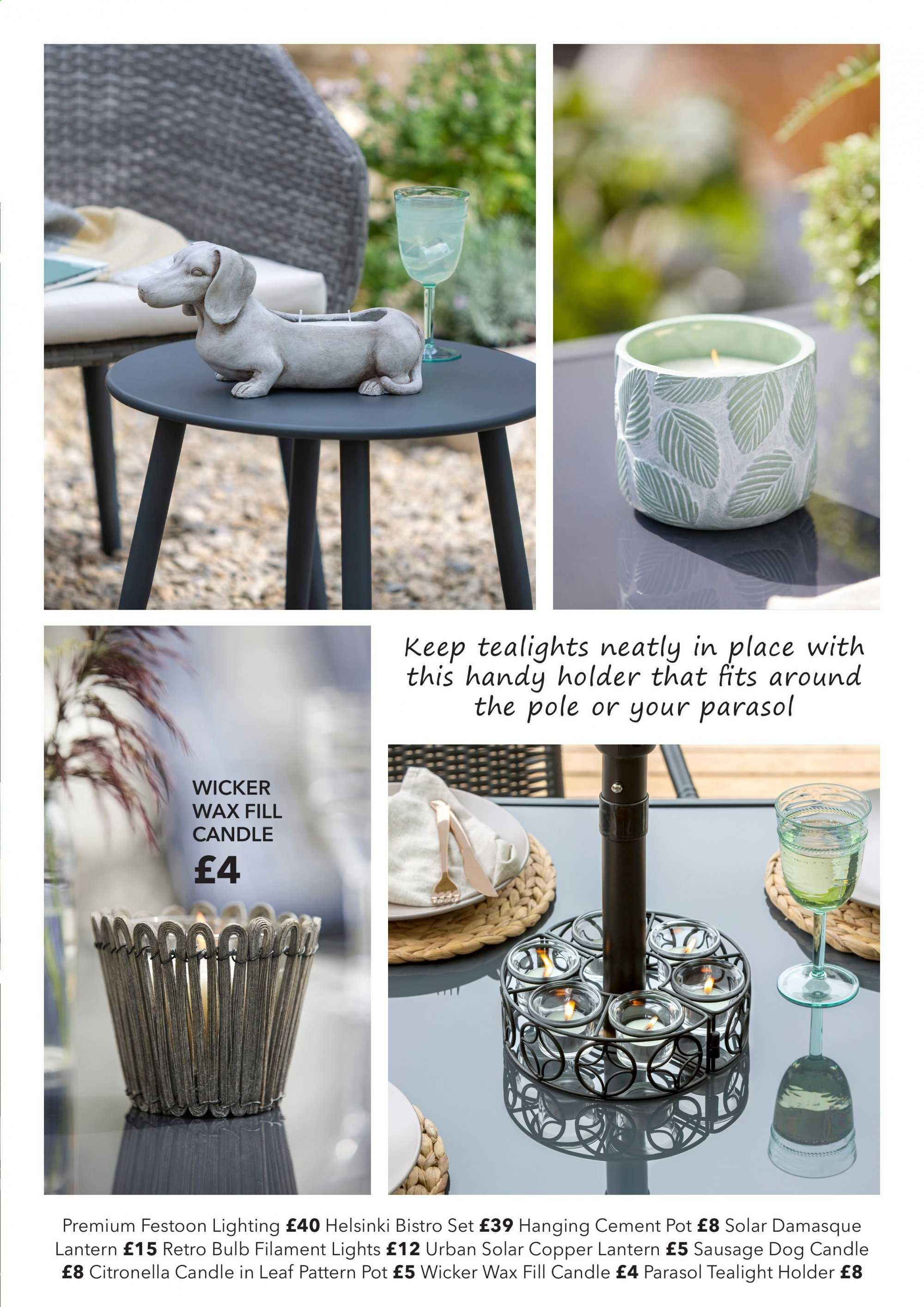 Dunelm offer  - Sales products - bulb, candle, sausage, holder, pot, lantern. Page 29.