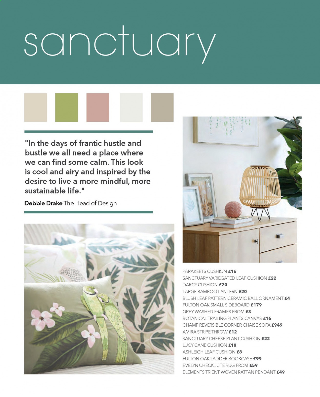 Dunelm offer  - Sales products - bamboo, bookcase, cushion, frame, ladder, rug, sideboard, sofa, throw, head, chaise, pendant, ornament, cheese, lantern, ball. Page 4.