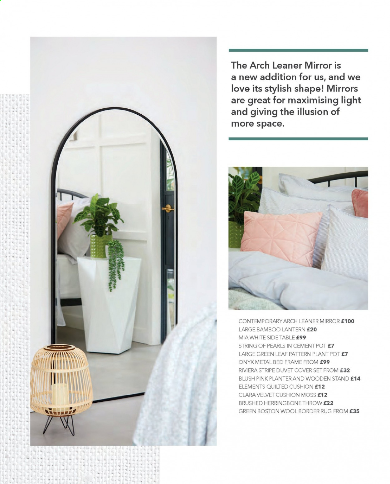 Dunelm offer  - Sales products - bamboo, bed, bed frame, border rug, cover, cushion, duvet, duvet cover, frame, metal bed, mirror, rug, stand, table, throw, plant pot, pot, lantern, wool. Page 12.
