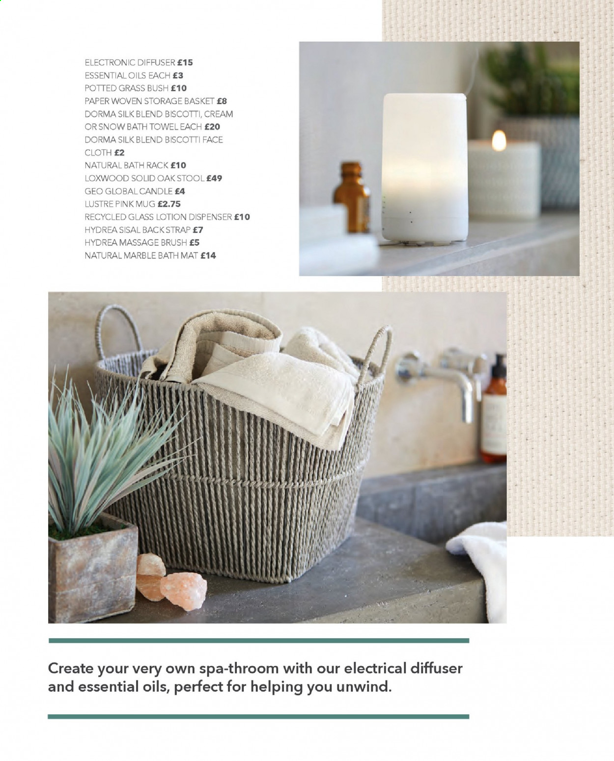 Dunelm offer  - Sales products - basket, bath, bath mat, bath towel, biscotti, brush, candle, cream, diffuser, dispenser, essential oil, glass, mat, mug, rack, stool, storage, strap, towel, paper. Page 40.