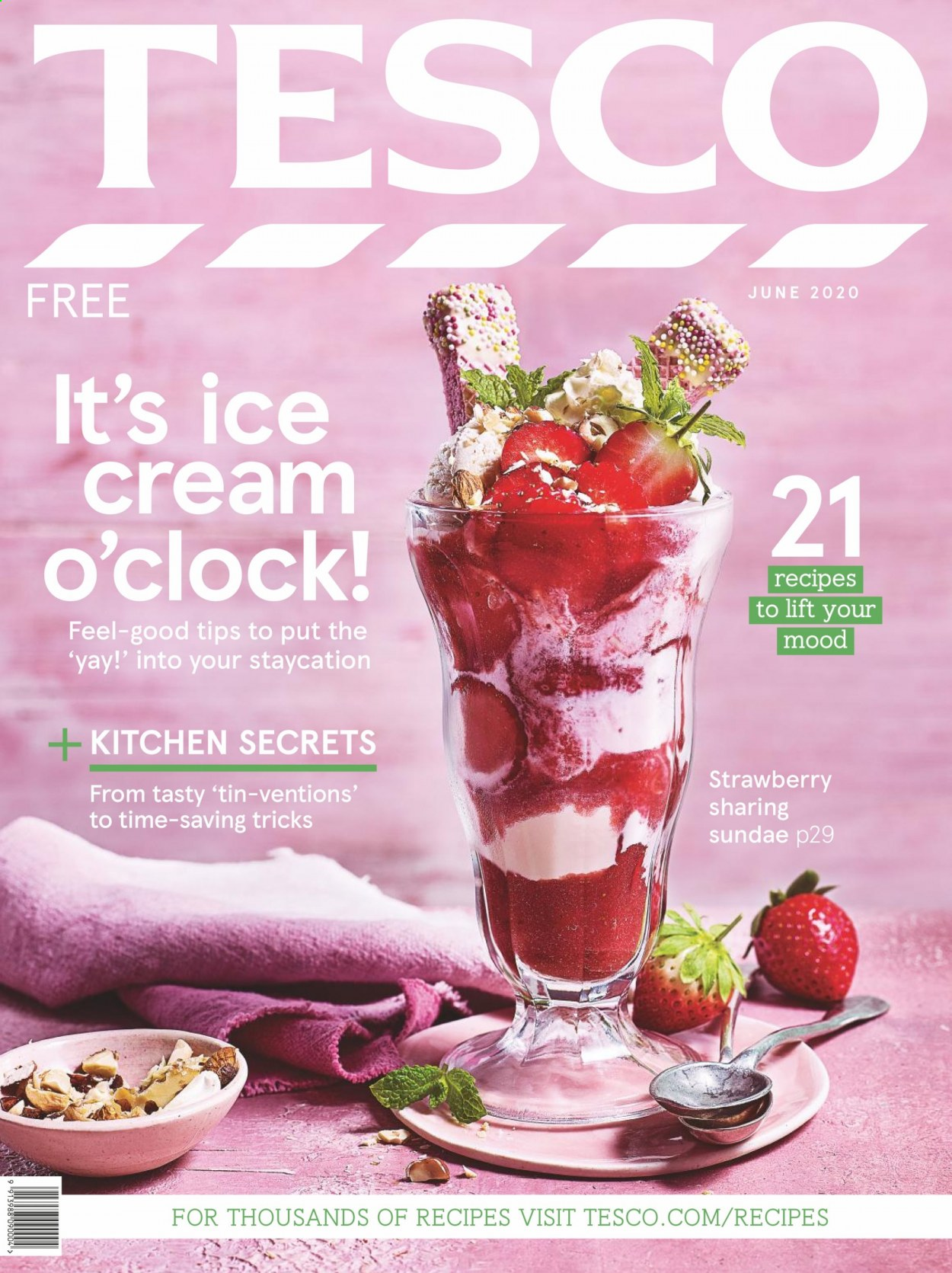 Tesco offer  - 1.6.2020 - 30.6.2020 - Sales products - strawberries, ice cream, clock. Page 1.