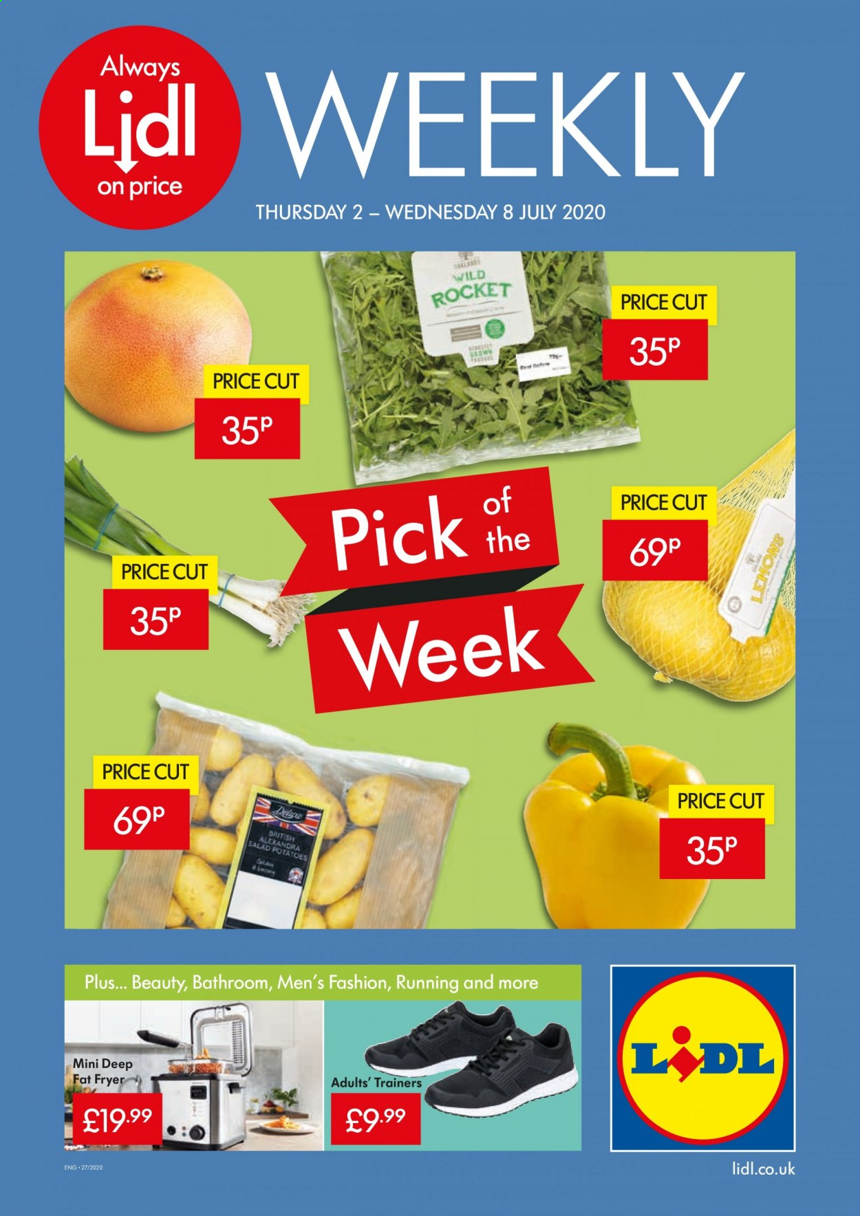 Lidl offer  - 2.7.2020 - 8.7.2020 - Sales products - always, bathroom, fryer, rocket, potatoes, salad. Page 1.