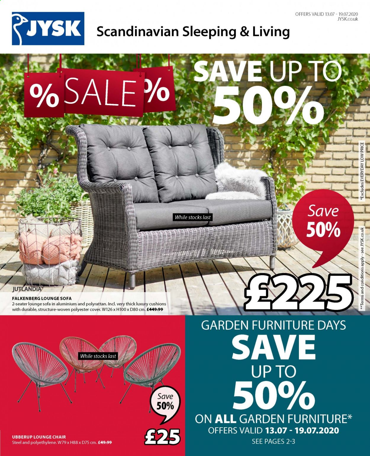 JYSK offer  - 13.7.2020 - 19.7.2020 - Sales products - cover, furniture, sofa, chair. Page 1.