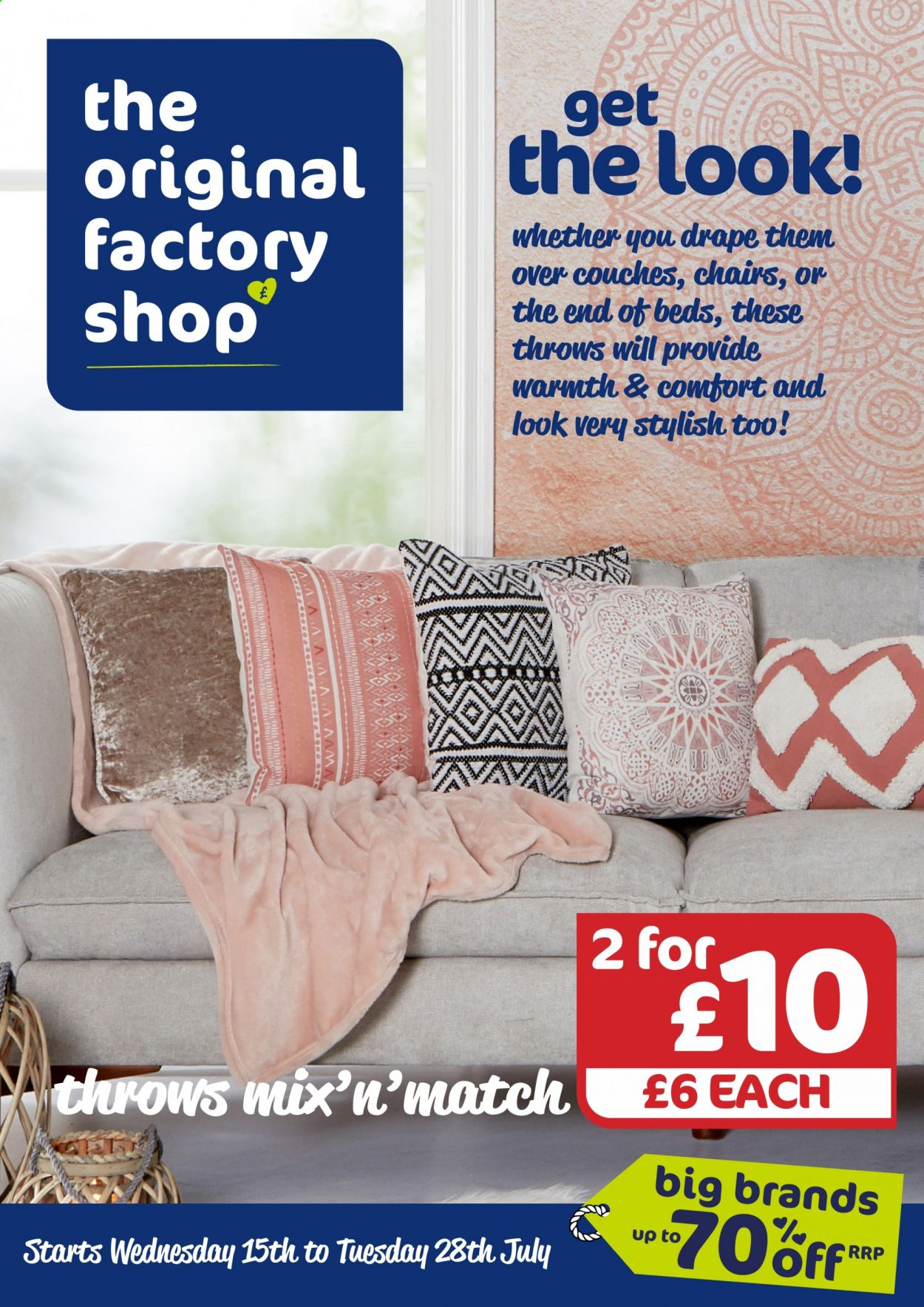 The Original Factory Shop offer  - 15.7.2020 - 28.7.2020 - Sales products - throw, chair. Page 1.