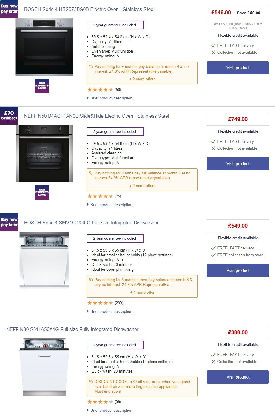 Currys PC World offer  - 1.8.2020 - 7.8.2020 - Sales products - bosch, dishwasher, stainless, kitchen, oven, stainless steel. Page 1.