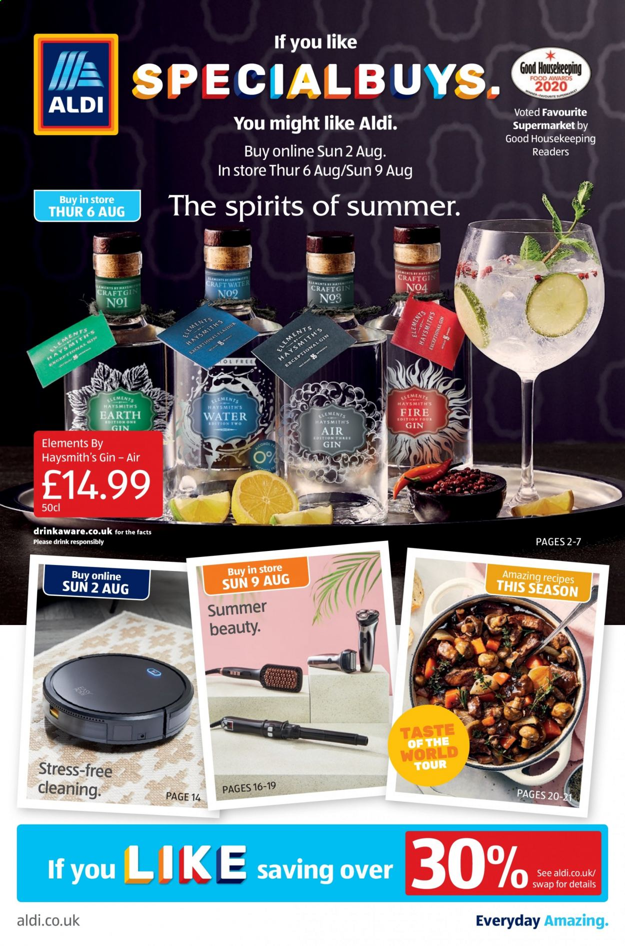 Aldi offer  - 2.8.2020 - 9.8.2020 - Sales products - gin, drink. Page 1.