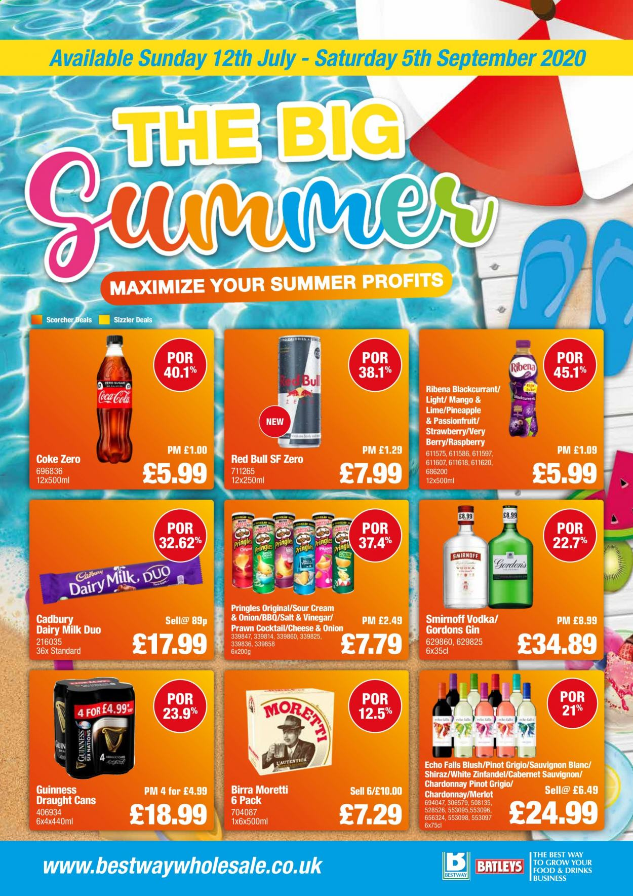 Bestway offer  - 12.7.2020 - 5.9.2020 - Sales products - cabernet sauvignon, coca-cola, cream, gin, mango, milk, smirnoff, sour cream, vinegar, vodka, pineapple, pringles, chardonnay, onion, cheese, berry, salt, prawn, strawberry, cadbury dairy, coke zero, merlot, cabernet, raspberry, barbecue, sauvignon. Page 1.