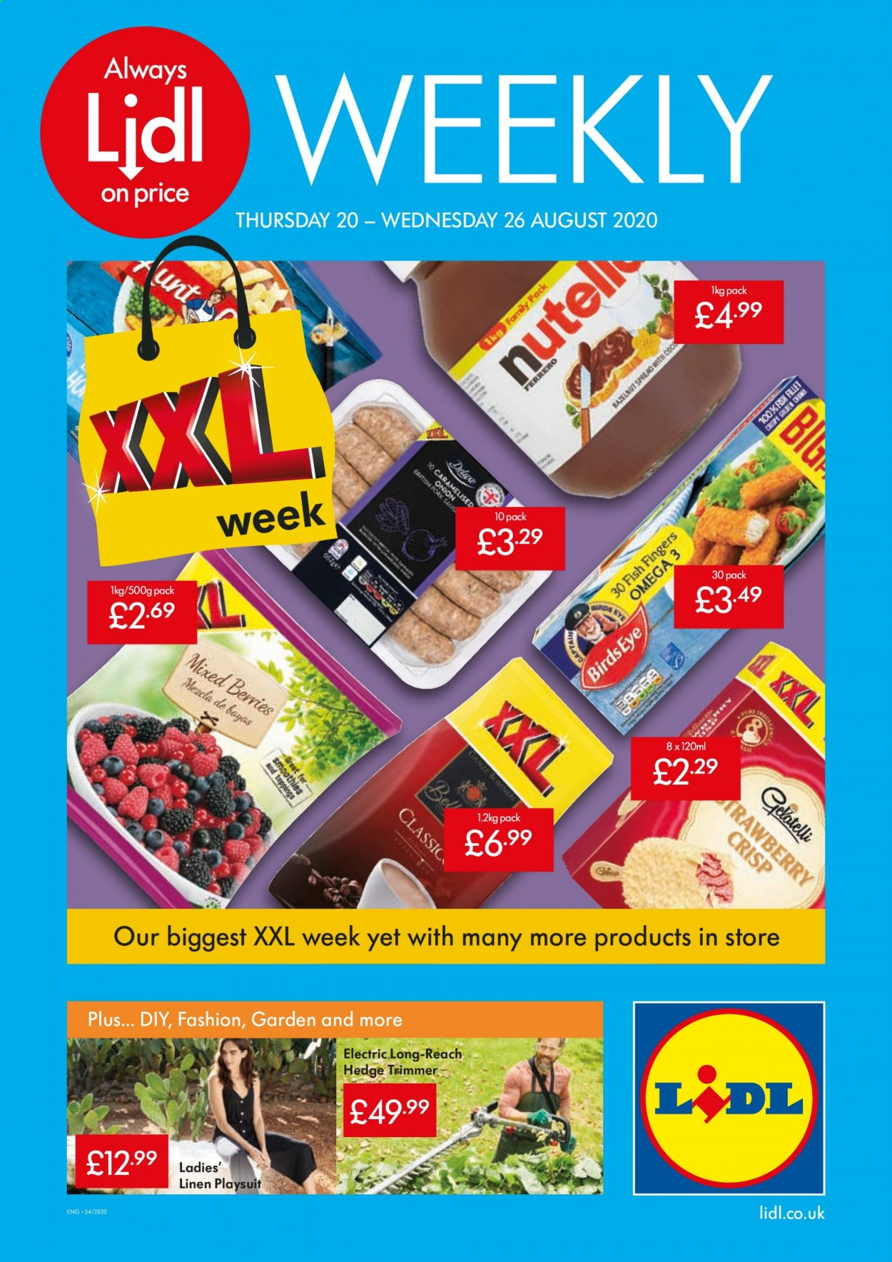 Lidl offer  - 20.8.2020 - 26.8.2020 - Sales products - always, bath, trimmer, pork meat, omega-3, fish. Page 1.